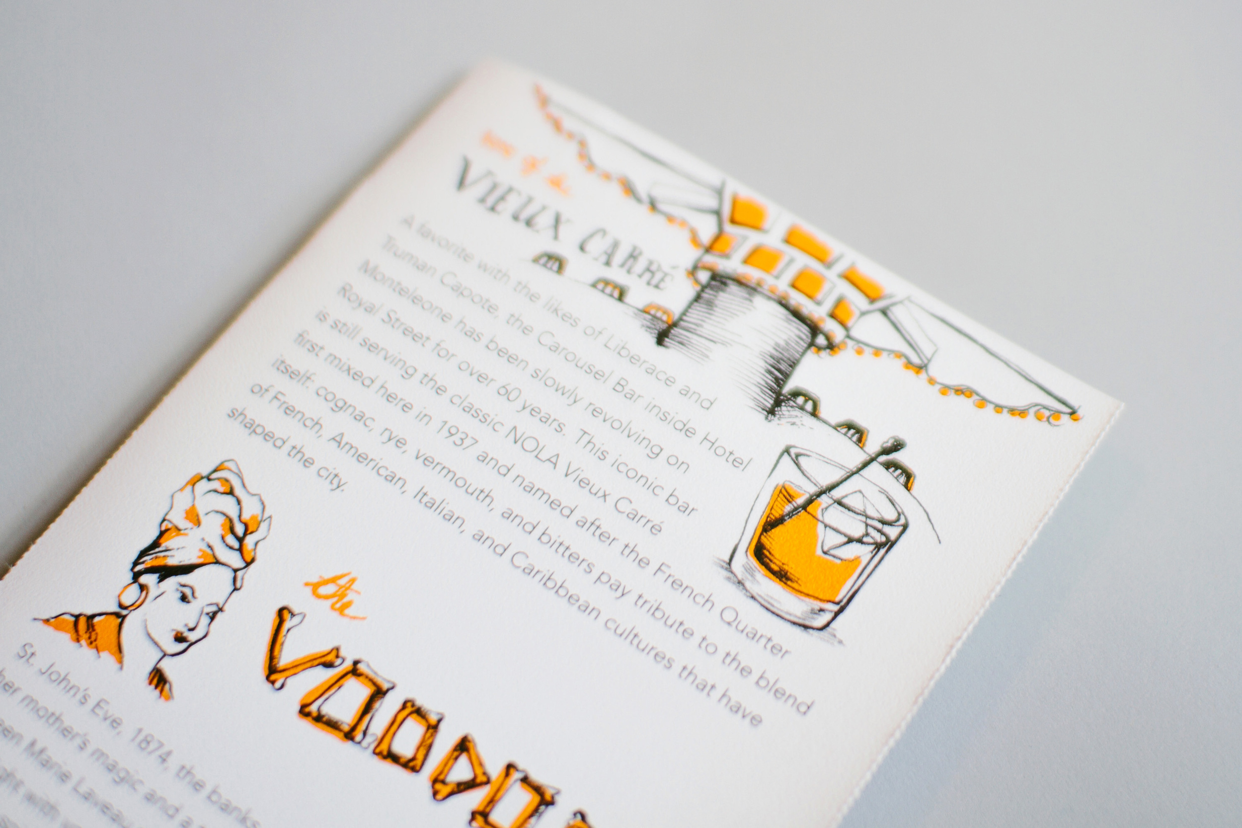 Illustrated Vieux Carre cocktail history, created at the Carousel Bar in New Orleans. The backs of each map also featured fun facts and historical and cultural information about New Orleans.