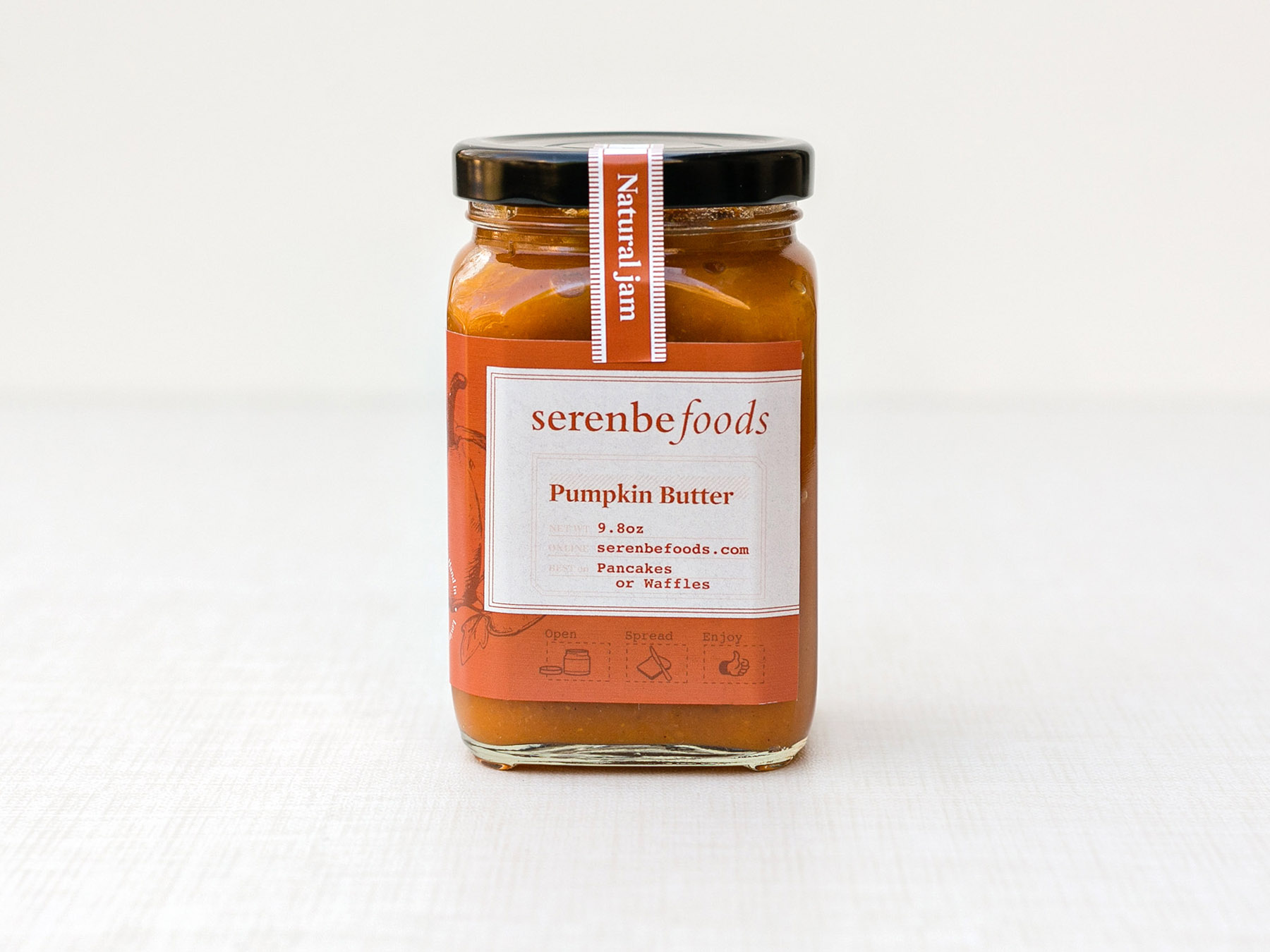 Serenbe Foods pumpkin butter jam jar label design
