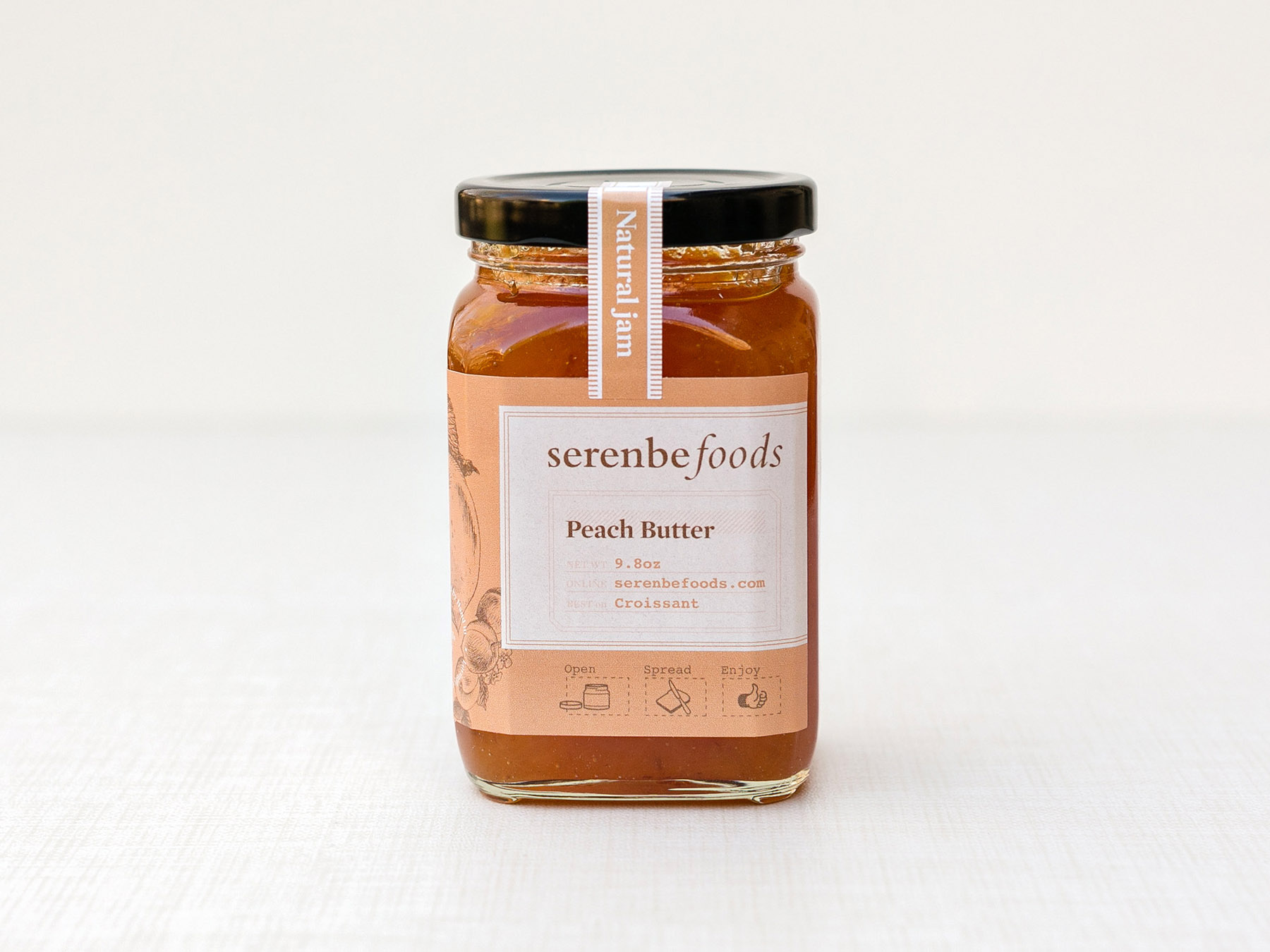 Serenbe Foods peach butter jar label design