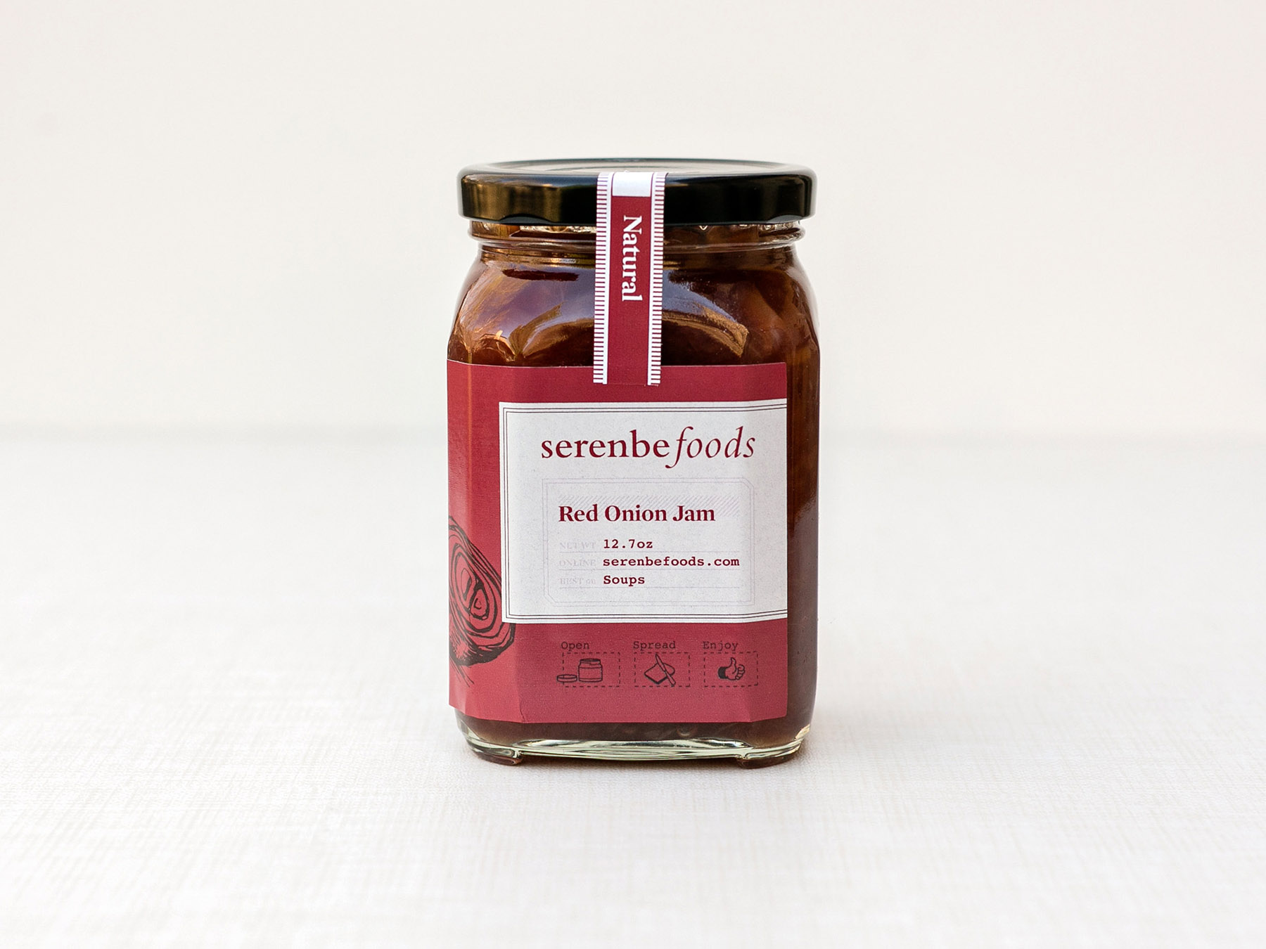 Serenbe Foods red onion jam jar label design