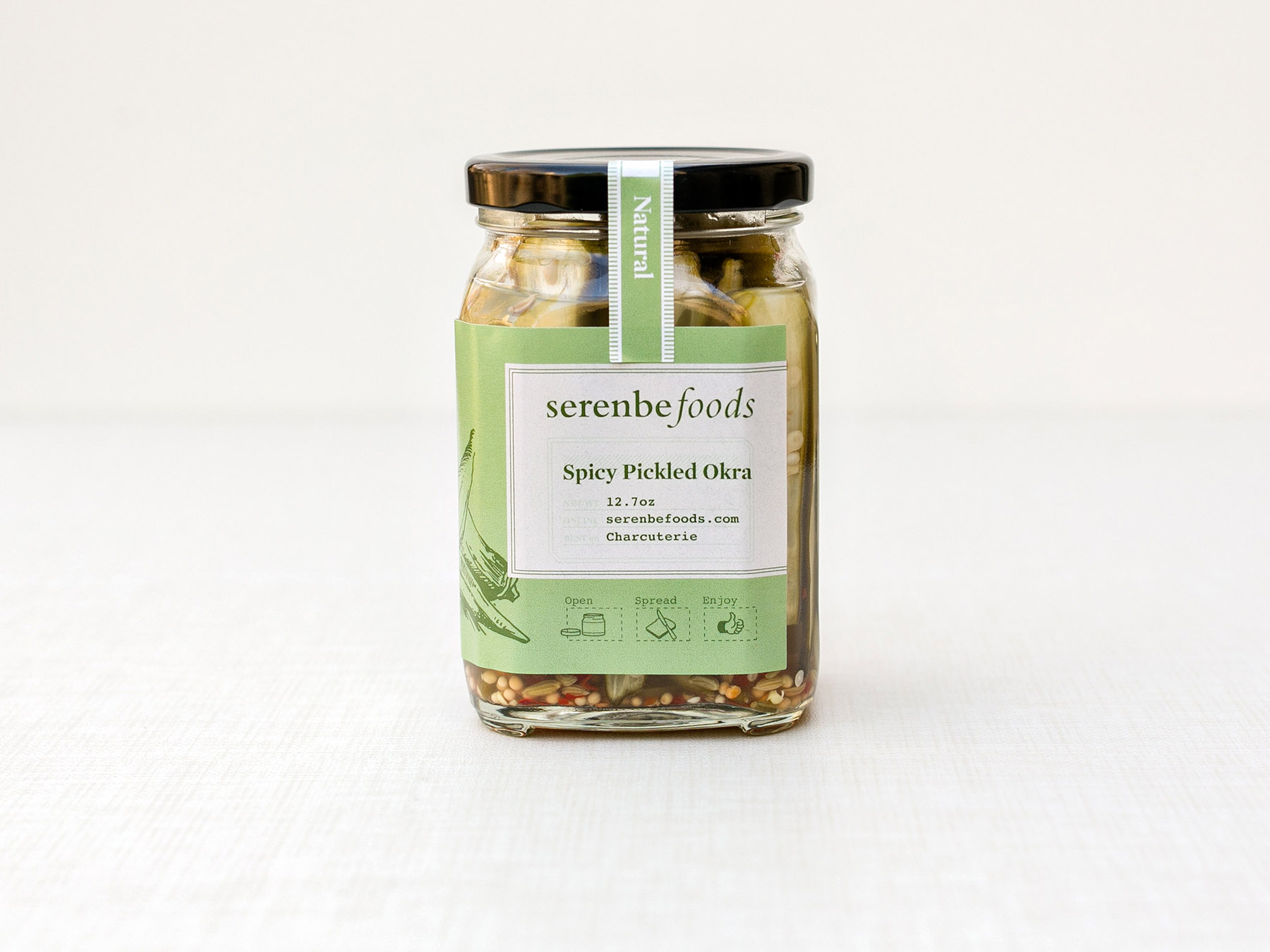 Serenbe Foods spicy pickled okra jar label design