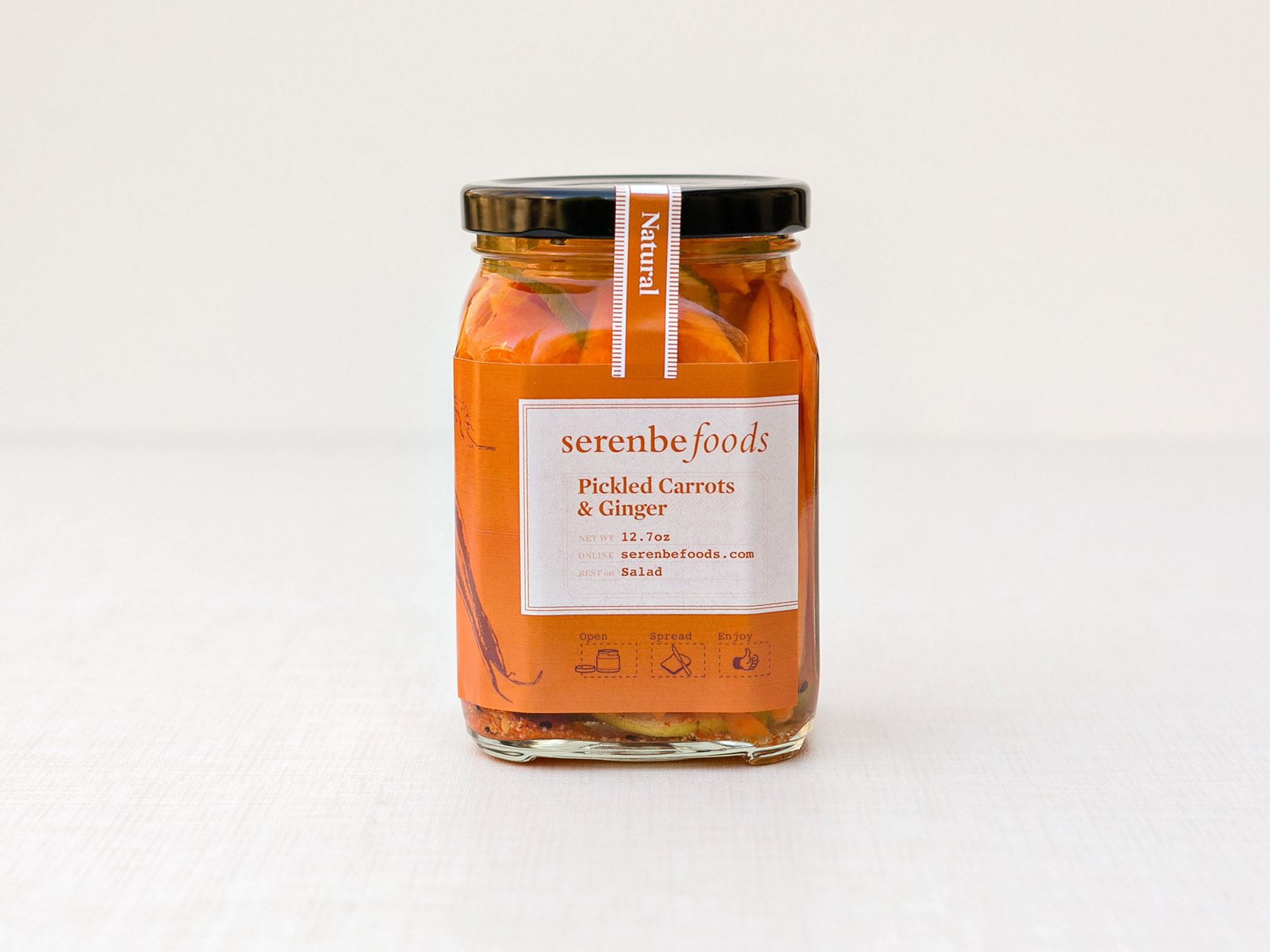 Serenbe Foods pickled carrots giner label design