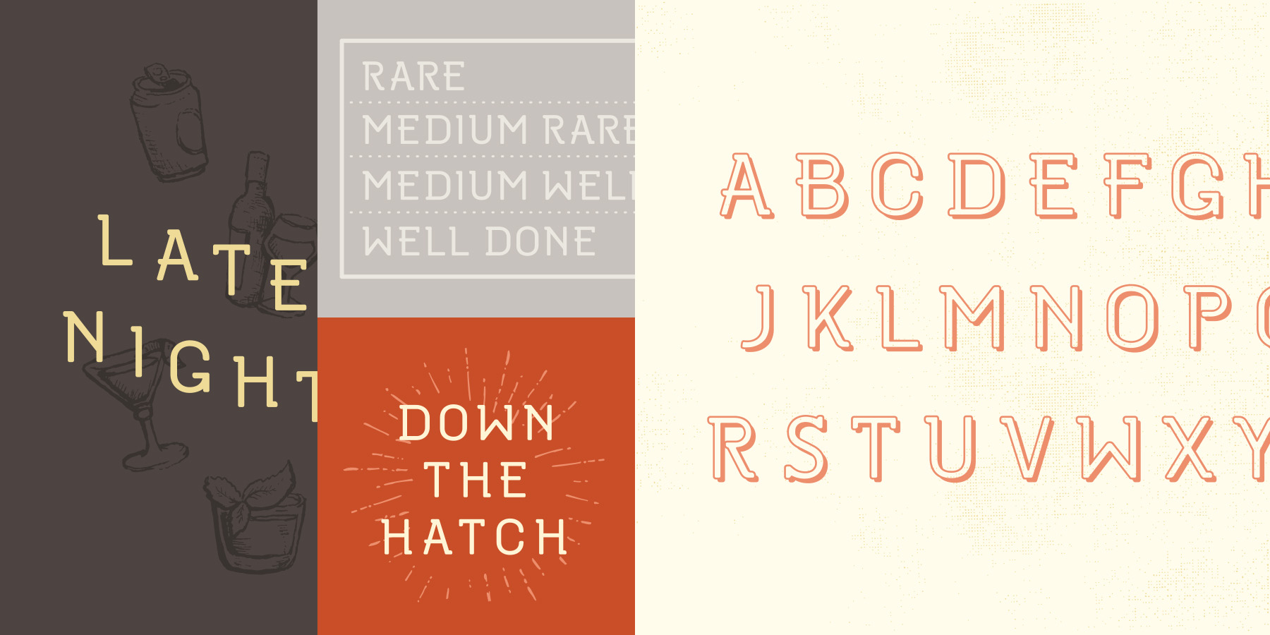 """Sample type specimen for custom font created and designed for the Oakblue Kitchen restaurant. Sample typography reads, """"Late Night, Rare Medium Rare Medium Well and Well Done, Down the Hatch."""""""