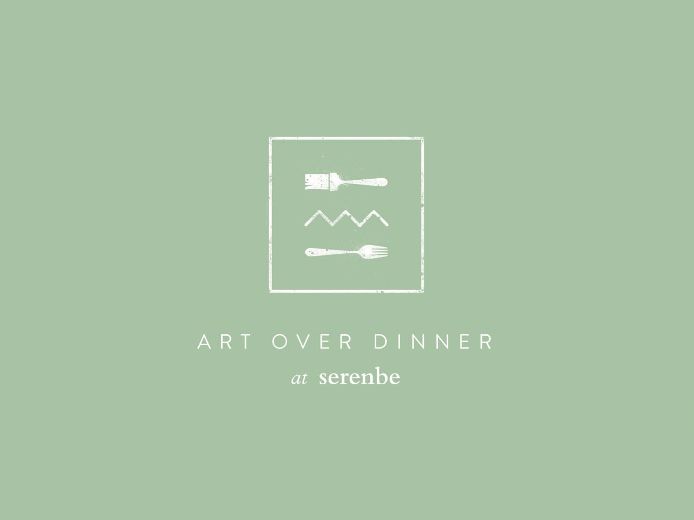 Second logo lockup for Art Over Dinner at Serenbe is part of the overall visual brand identity design for the dinner series of artist events.