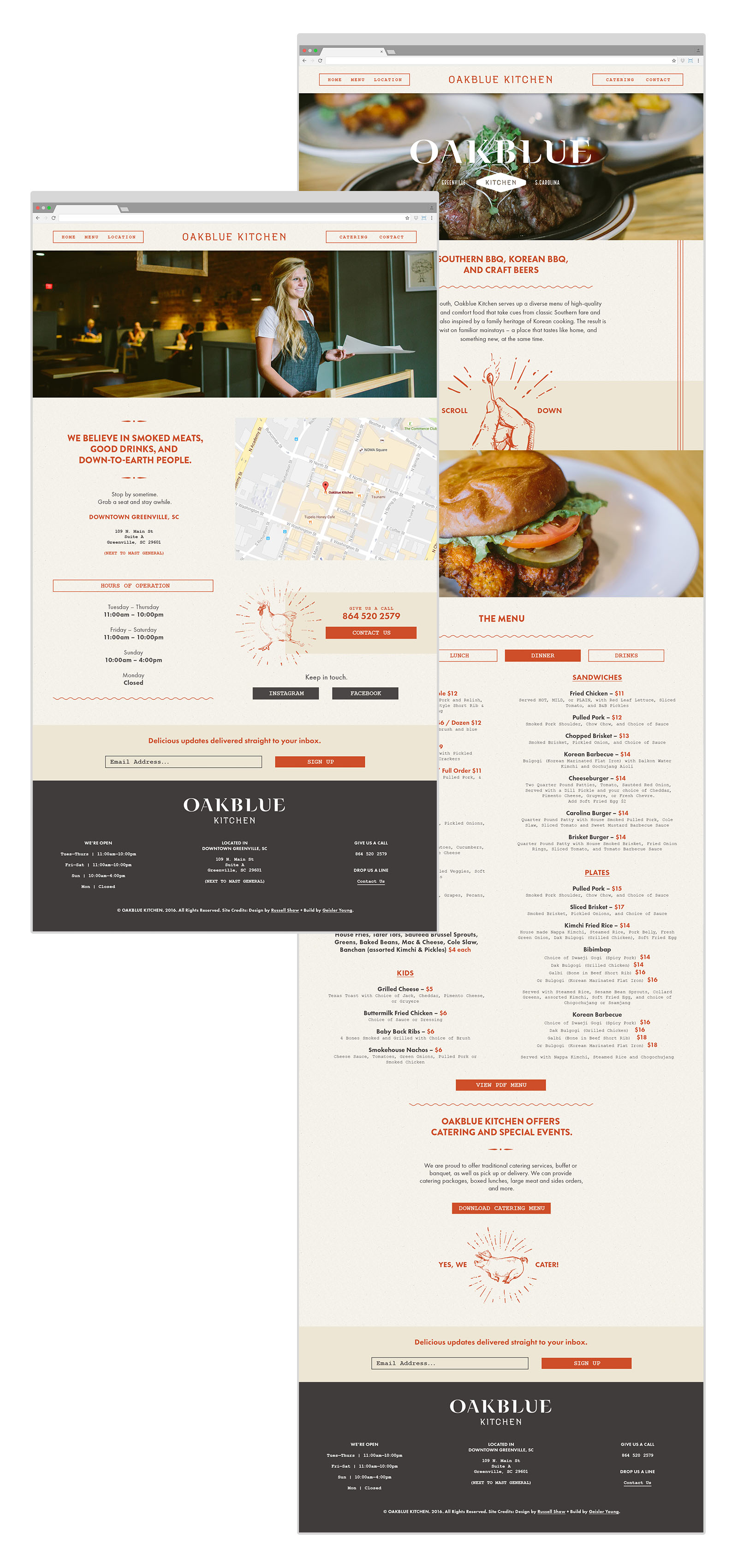 Full web site page design mockups for the Oakblue Kitchen website with the homepage, location of restaurant and the menu, as part of the brand design and visual identity package for the bbq joint by Russell Shaw.