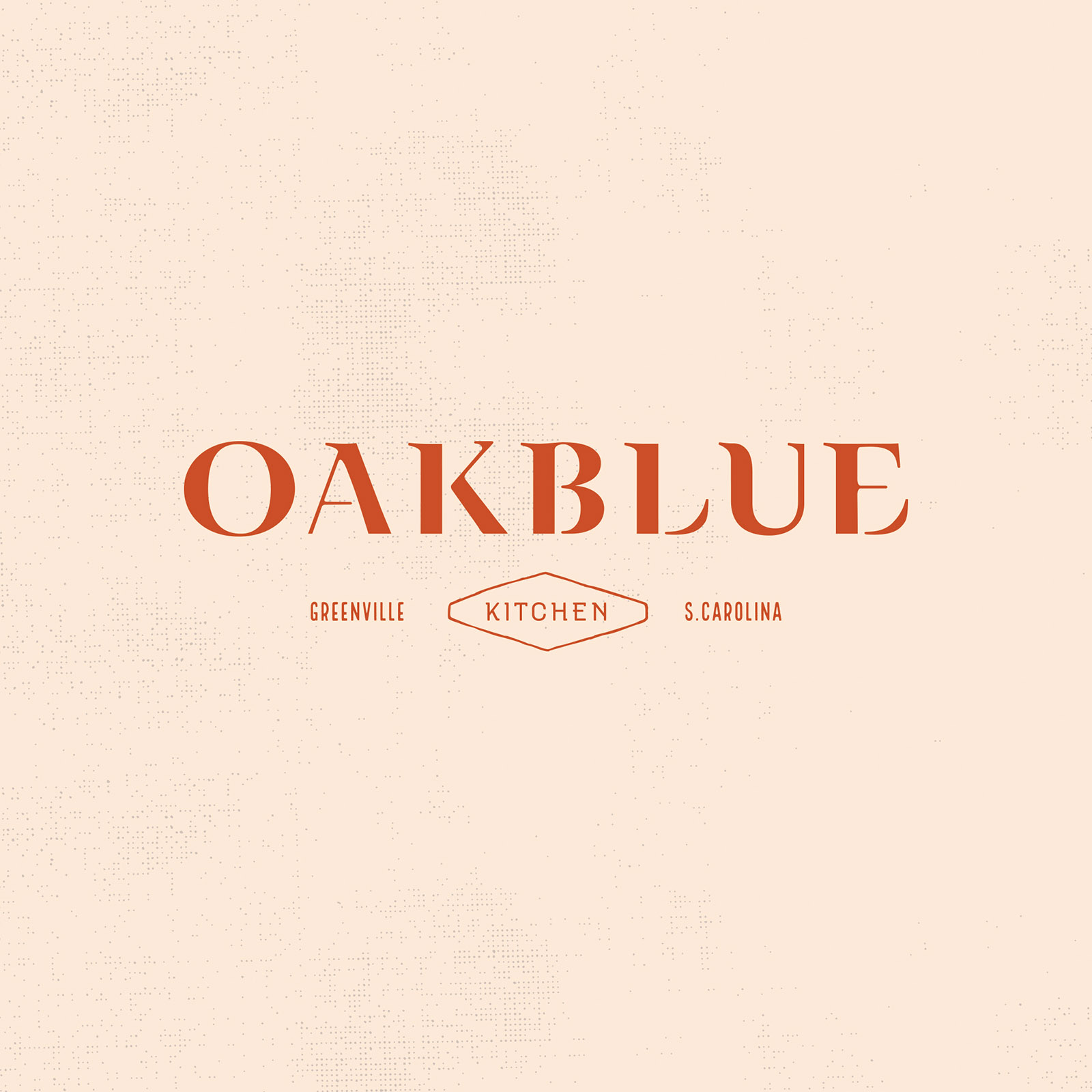 Full color Oakblue Kitchen logo design in red on tan background.