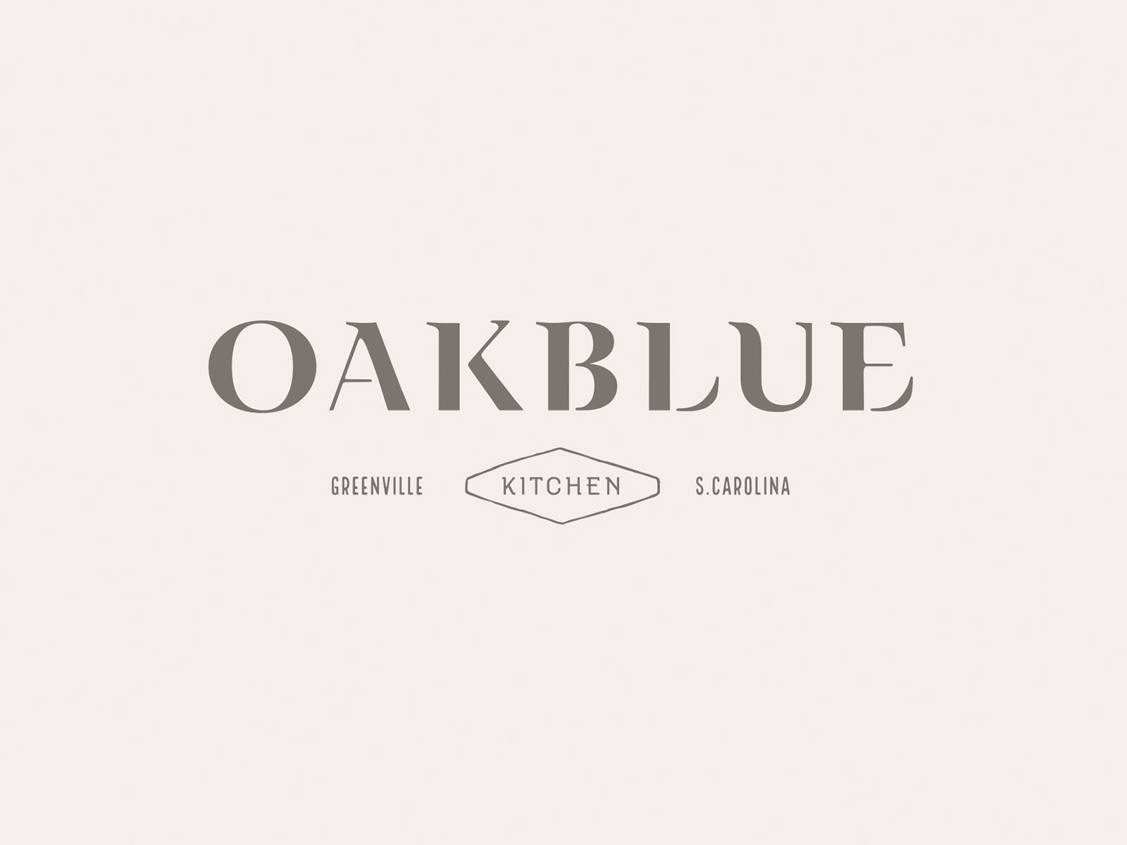 Oakblue Kitchen branding design, showing the logo in gray, designed by graphic artist Russell Shaw, for the restaurant.