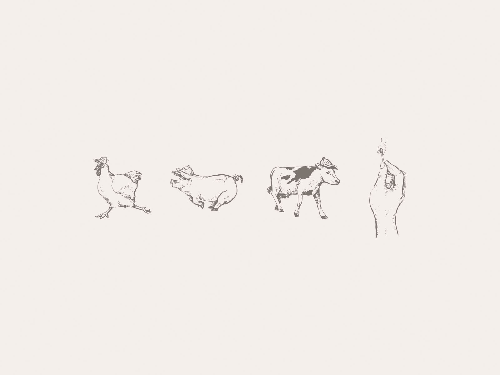 """Custom hand drawn illustrations by illustrator Russell Shaw for Oakblue Kitchen. Shows a chicken, pig, and cow in """"O.k."""" branded hats, and a lit match in a hand. Line art and cross hatching style."""