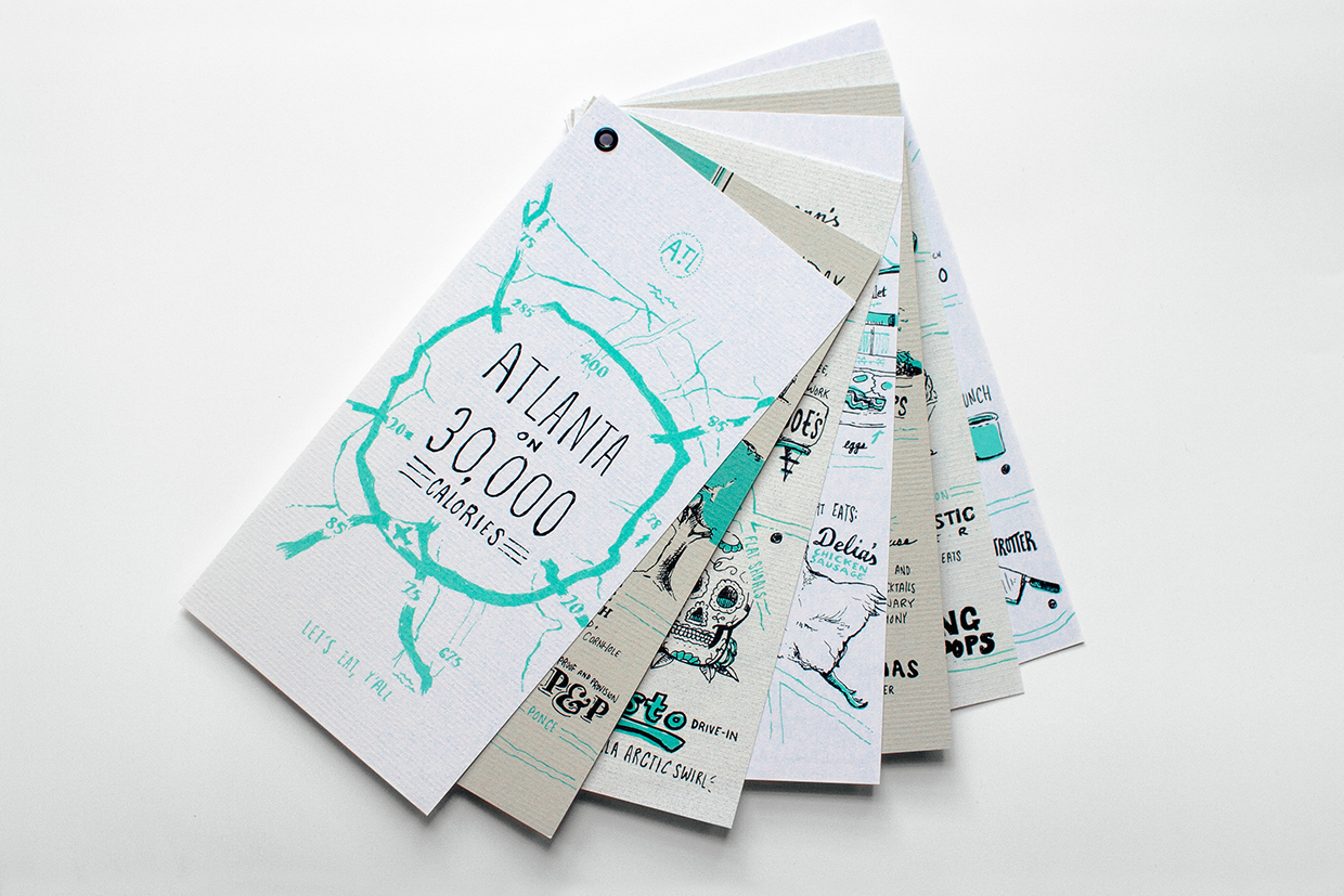 """Neenah Paper """"future classic"""" marketing campaign showcases seven emerging designers across the nation. For Atlanta, DesignArmy chose Russell Shaw to represent the city by creating an illustrated guide to food mapped across seven neighborhoods, one for each day of the week."""