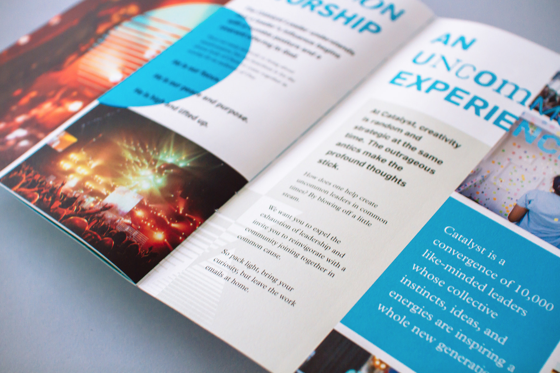 """Conference marketing brochure design """"uncommon experience"""" shows event photos and theme copywriting for introducing the new theme brand identity and promotion."""