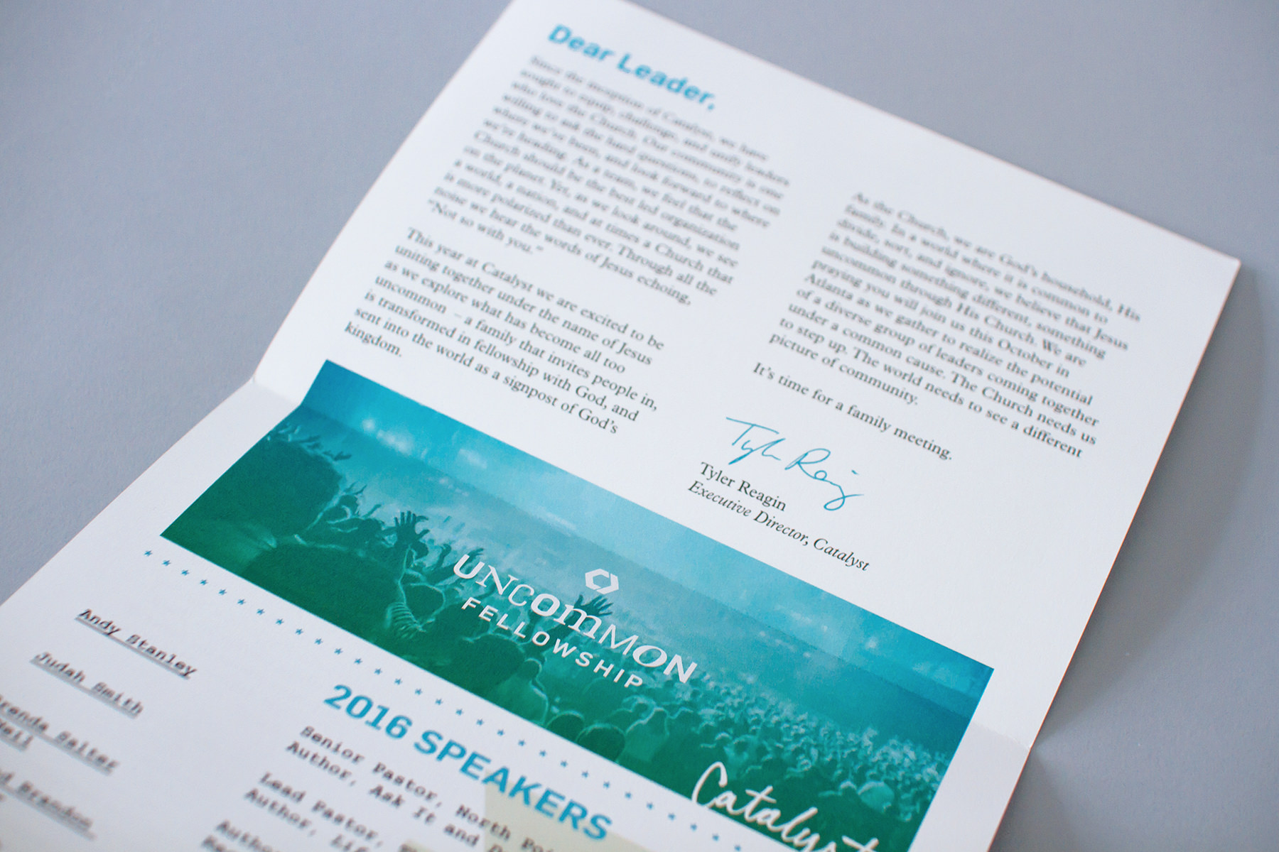 On the back of the newsletter design is a letter from the Catalyst executive director and a reveal of the conference theme logo.