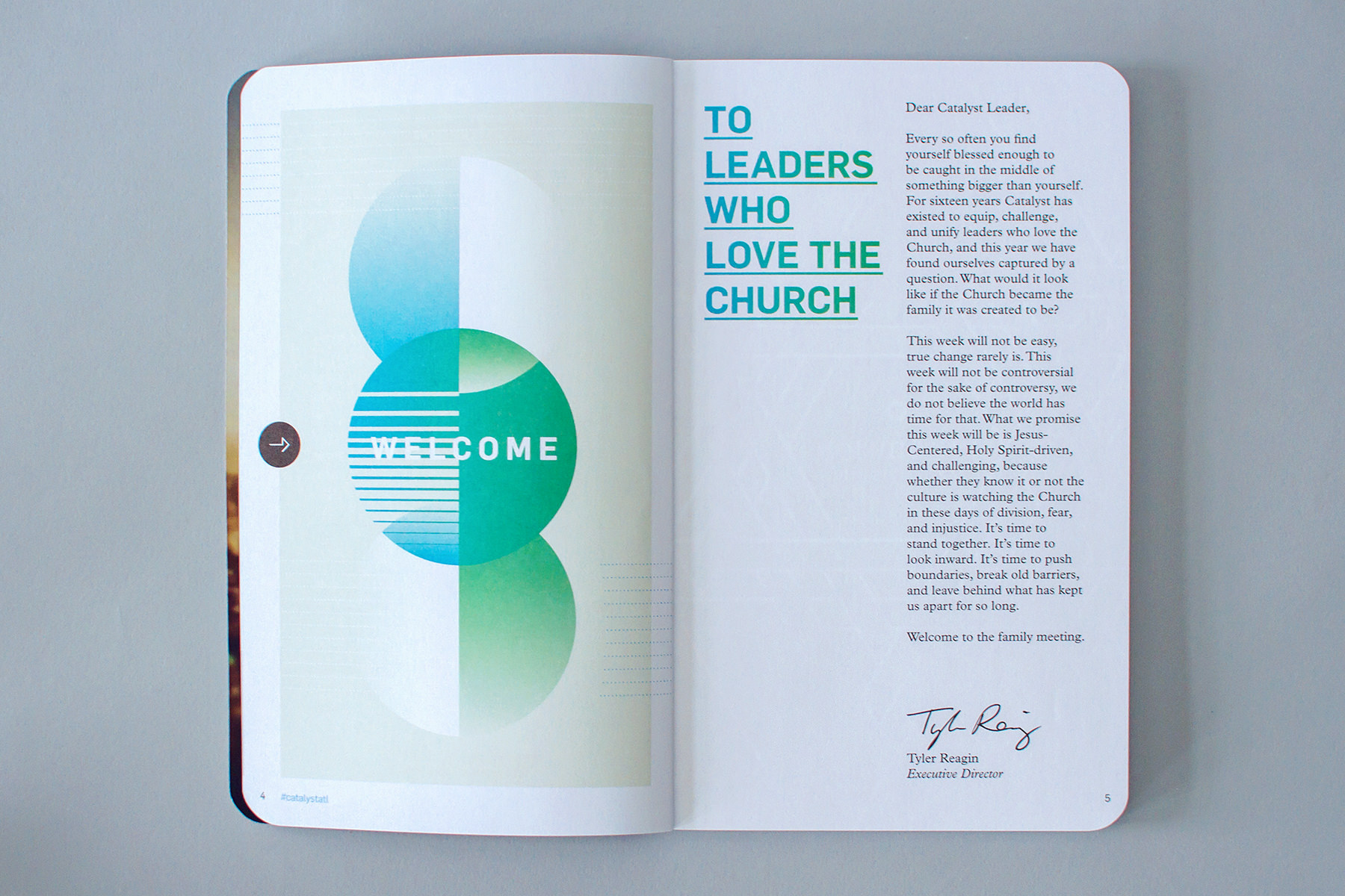 catalyst editorial design of welcome letter