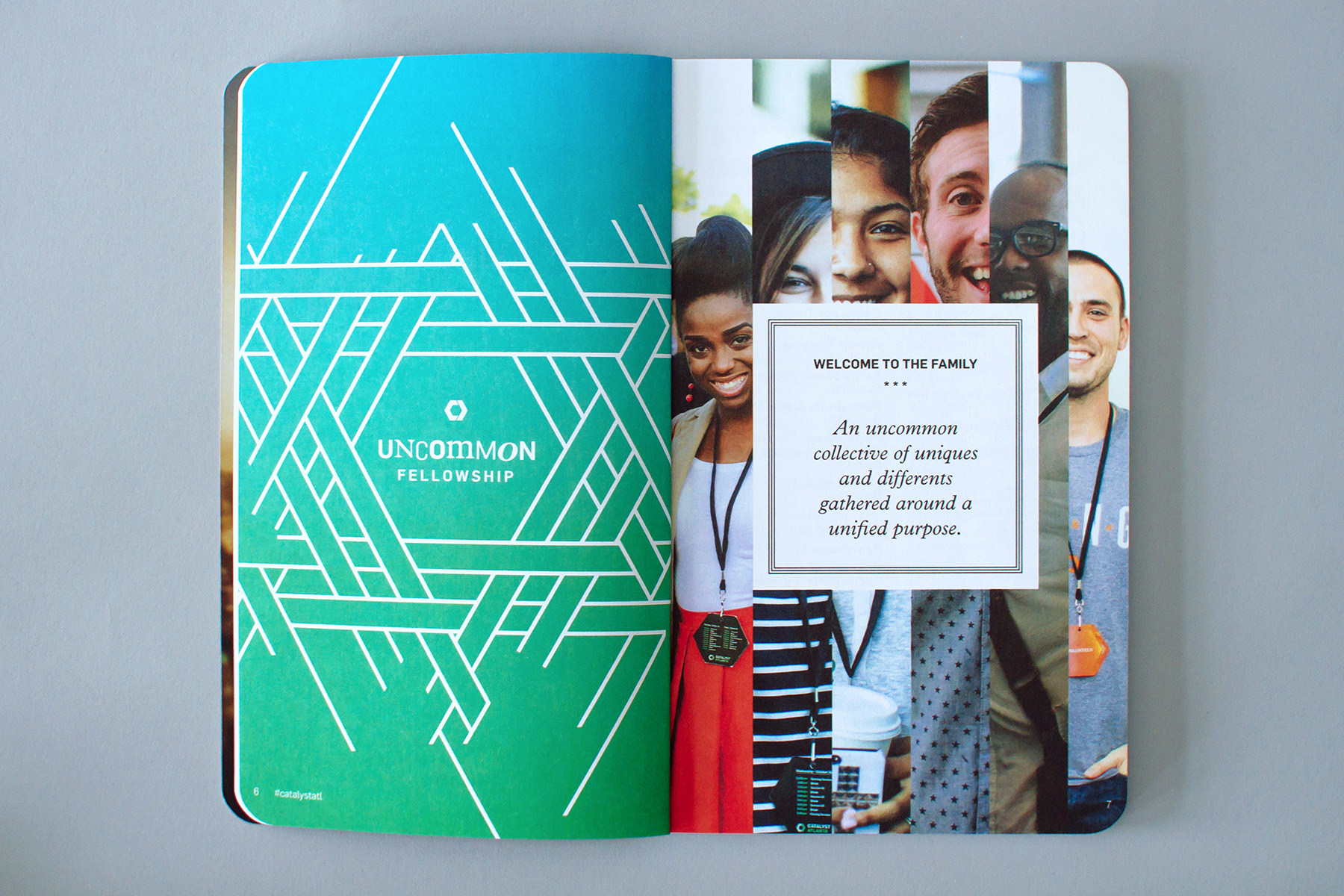 Custom logo pattern of Catalyst icon for Uncommon Fellowship reveals the event branding in this editorial and layout spread design with columns of photos of diverse people and a message of welcome to the family.