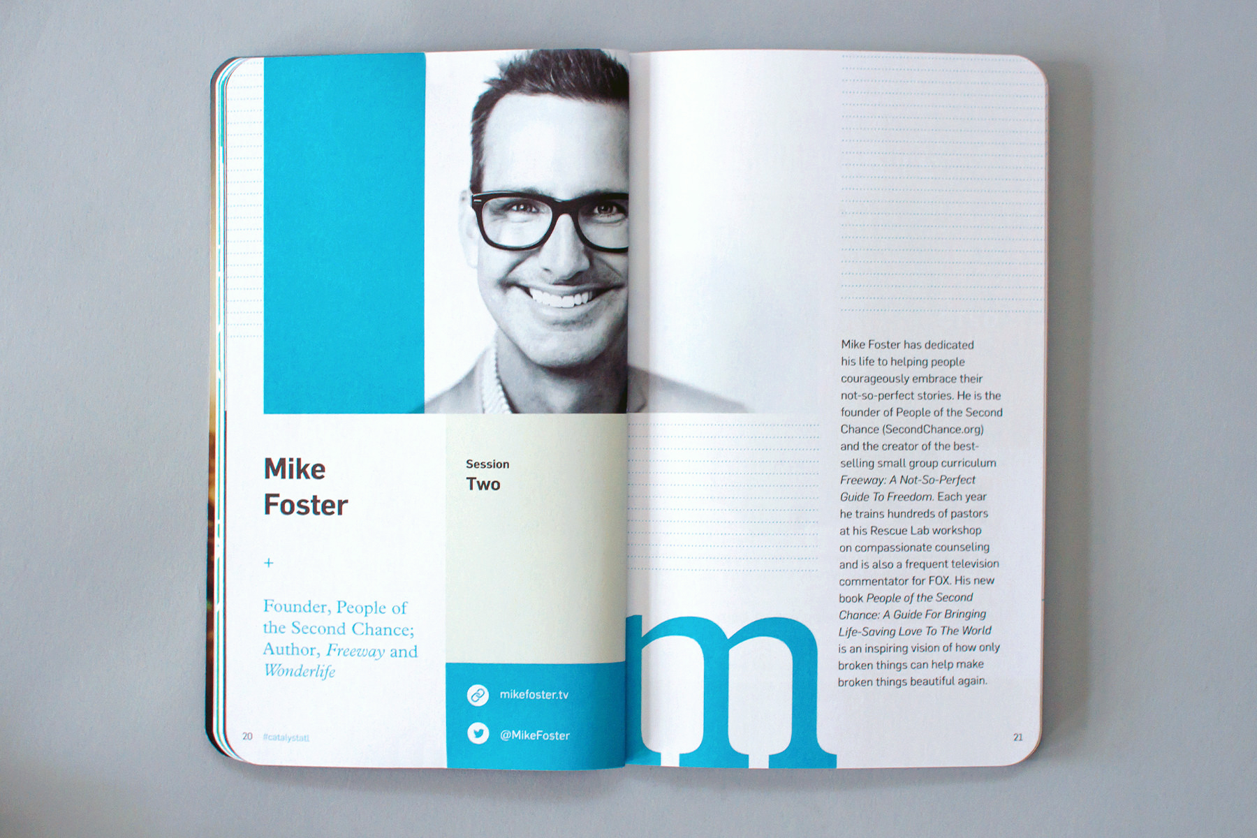 Editorial graphic design of conference notebook features speaker Mike Foster at Catalyst Conference 2016.