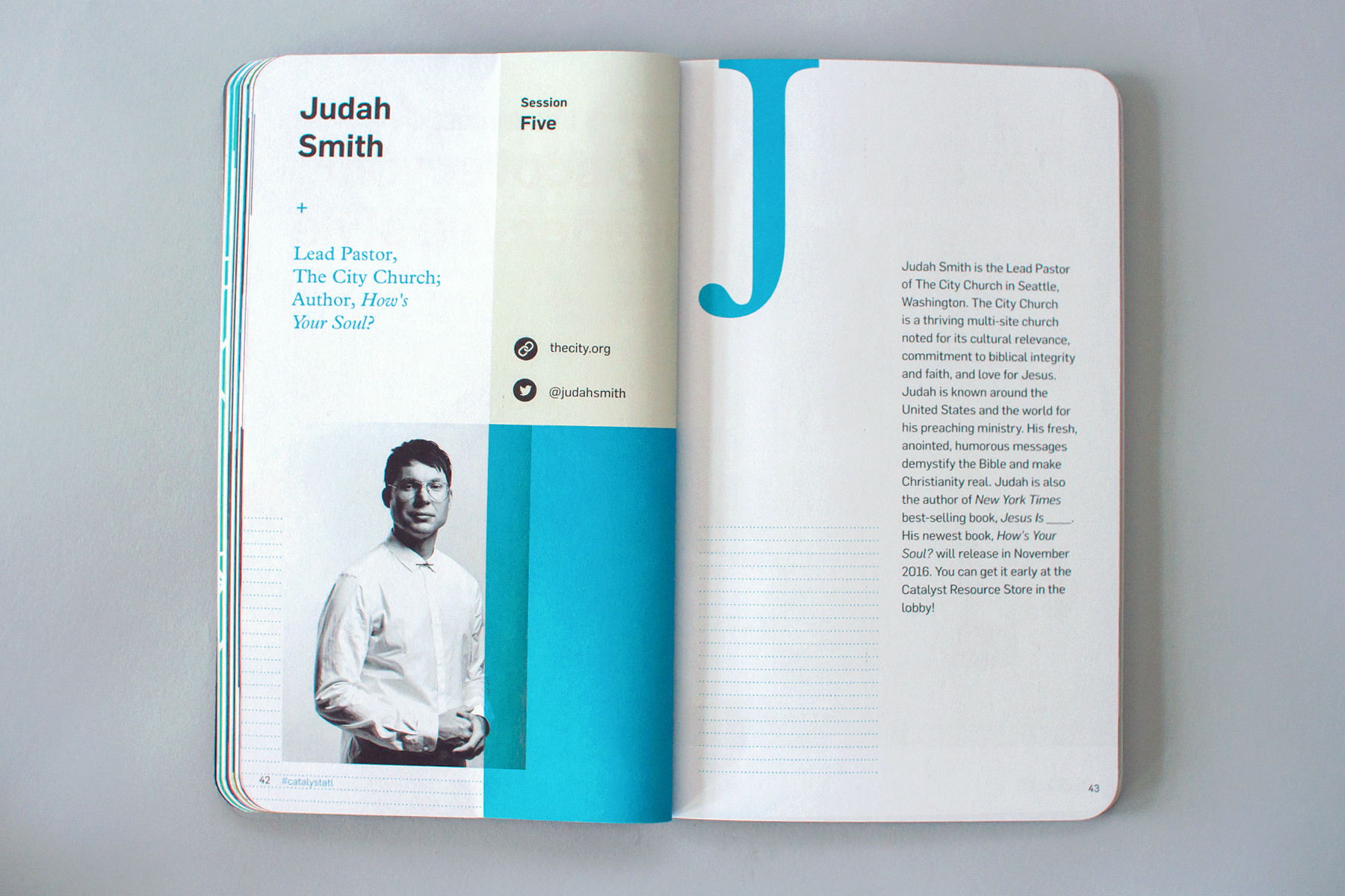 Editorial graphic design of conference notebook features speaker Judah Smith at Catalyst Conference 2016.