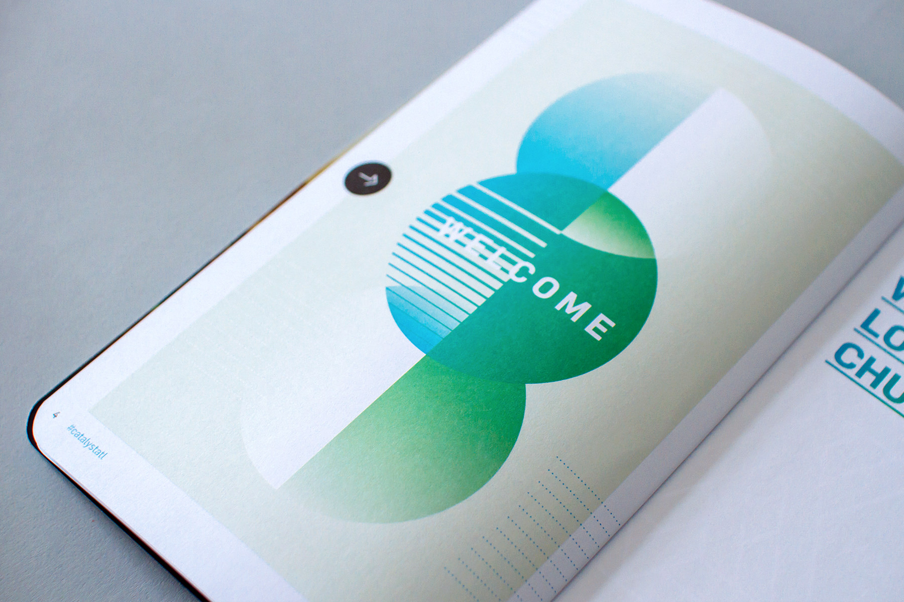 Editorial and layout graphic design of the welcome letter for the Catalyst Conference 2016 uncommon fellowship event notebook branding design.