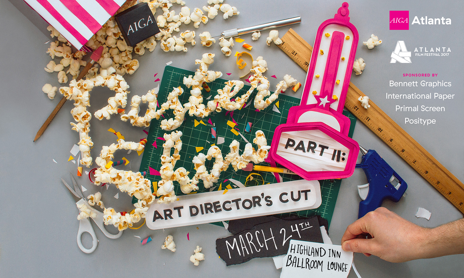 AIGA Atlanta Poster Show Part Two Art Director's Cut, promotional artwork for call for submissions, hand made paper craft popcorn lettering.