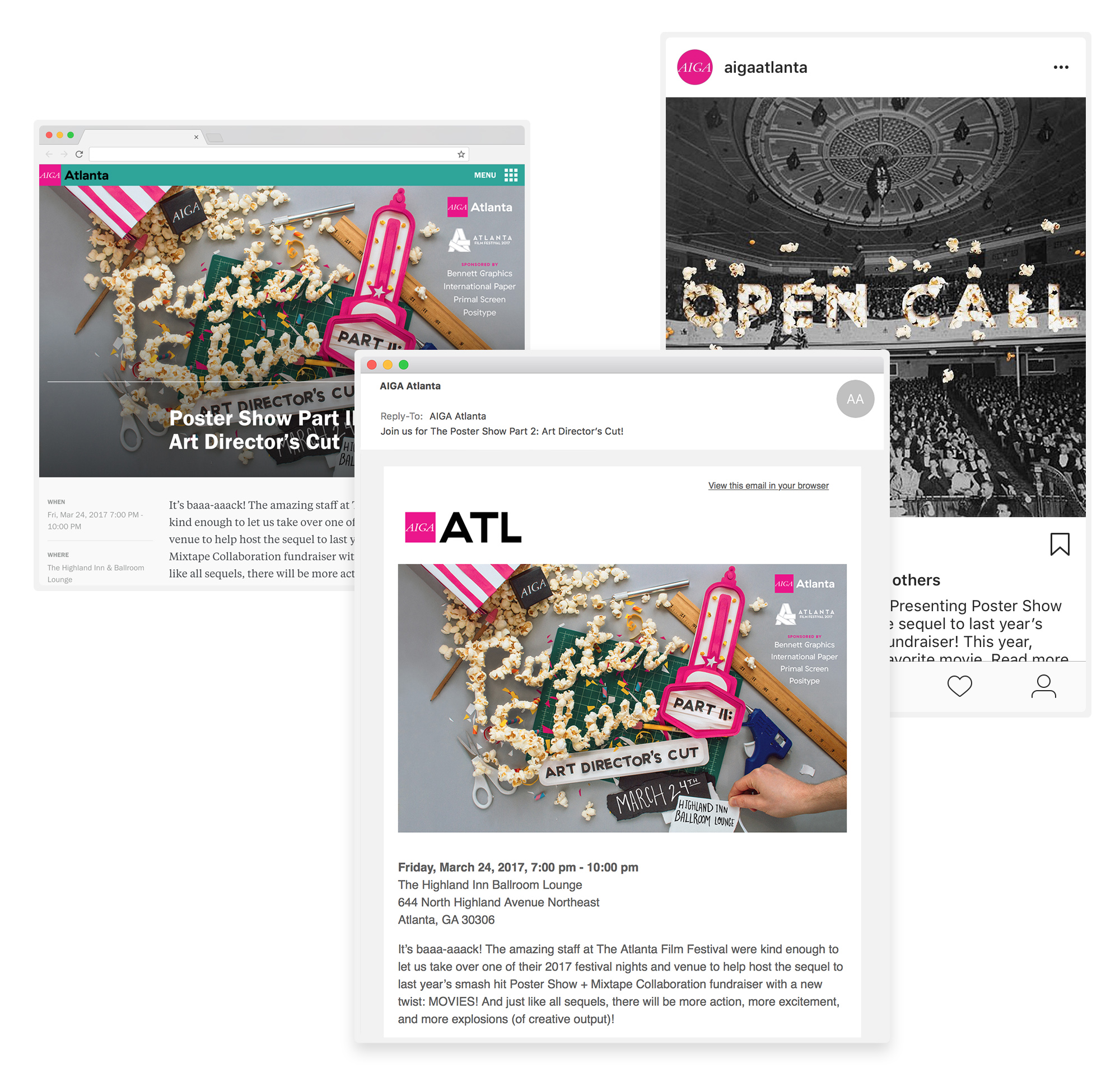 Website banner and social media graphics designed for AIGA Atlanta's Poster Show inspired by movies and cinema. The promotional image features paper craft theater marquee and popcorn typography made by hand.