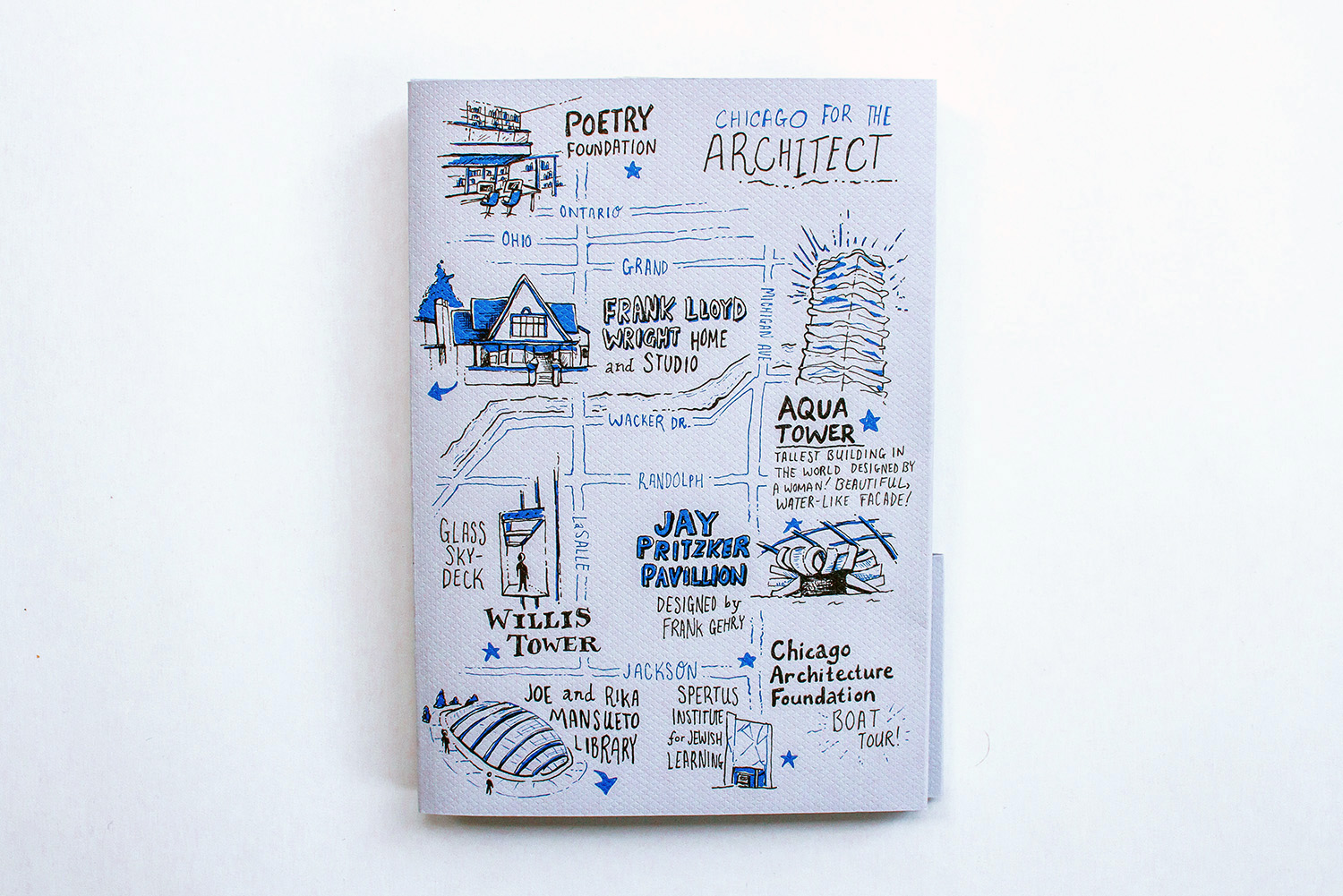 Illustrated map of Chicago for architects and architecture enthusiasts and fans, featuring the poetry foundation, frank lloyd wright home and studio, aqua tower, jay pritzker pavillion, willis tower, spertus institute for jewish learning, joe and rika mansueto library, and the chicago architecture foundation.