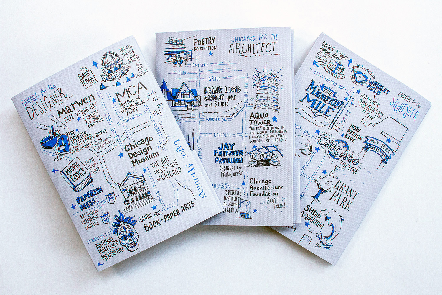 Fanned out video of the designer, architect, and sightseer maps of Chicago, with hand drawn illustrations and custom hand lettering by graphic designer Russell Shaw for Neenah Paper at the HOW Design Live conference in 2017.