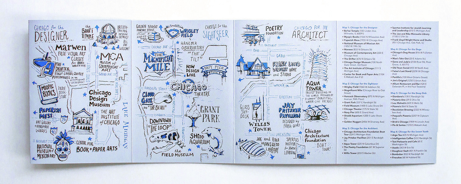 Hand drawn illustrated maps of Chicago for the designer, for the sightseer, for the architect, and map legend and key, for Neenah Paper, promotional collateral and marketing promotions at the HOW Design Live 2017 conference in Chicago.