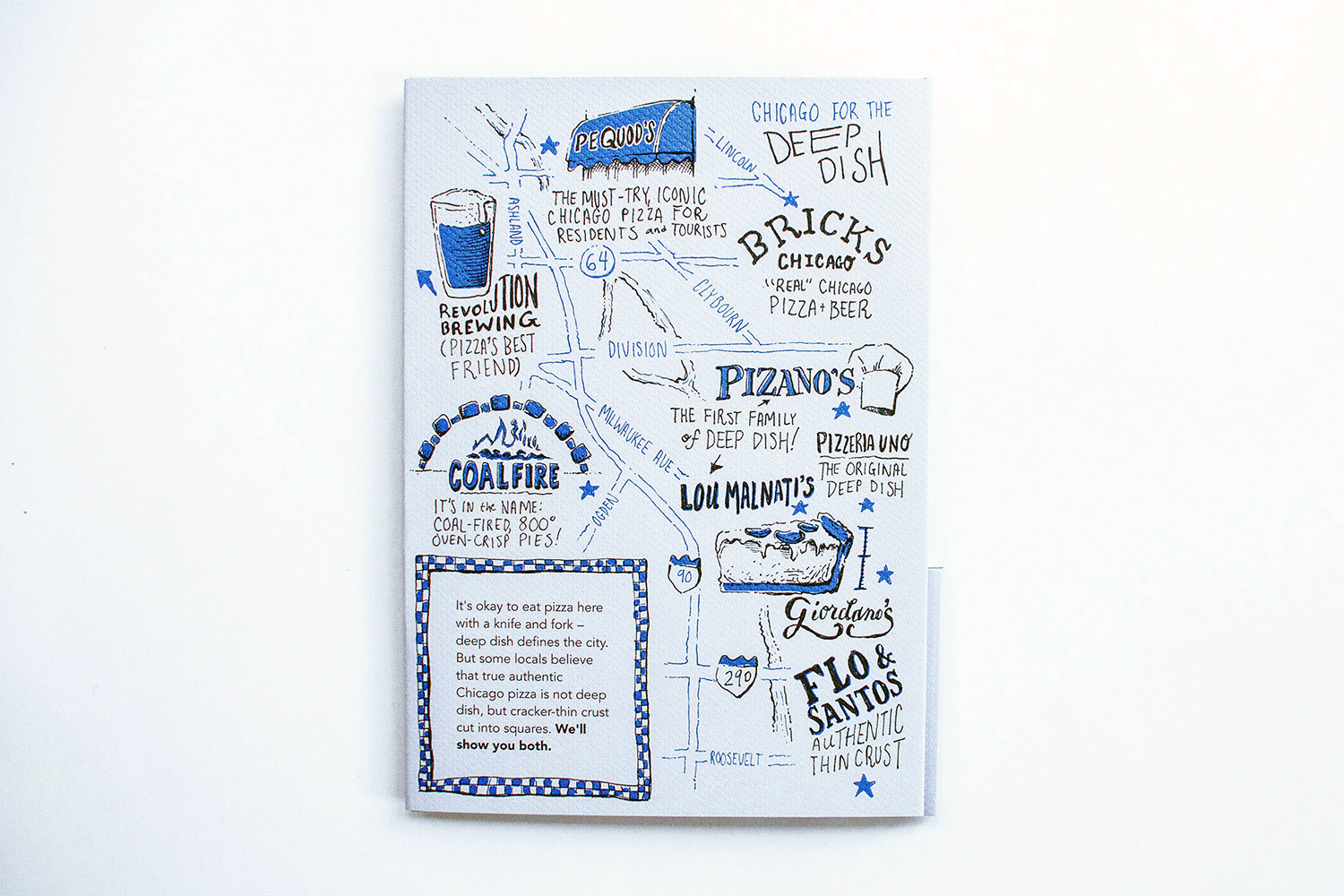 Illustrated map of chicago, hand drawn and hand lettered, for people looking for deep dish pizza. Features revolution brewing, Pequod's, bricks chicago, pizano's, lou malnati's, giordano's, coalfire, and flo and santos thin crust.