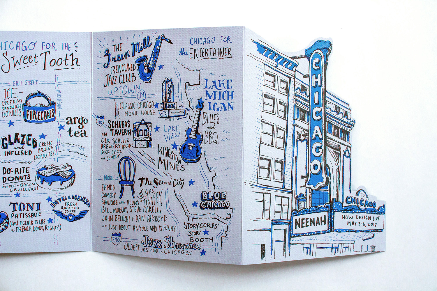 Neenah Presents Chicago illustrated maps, cover and unfolded