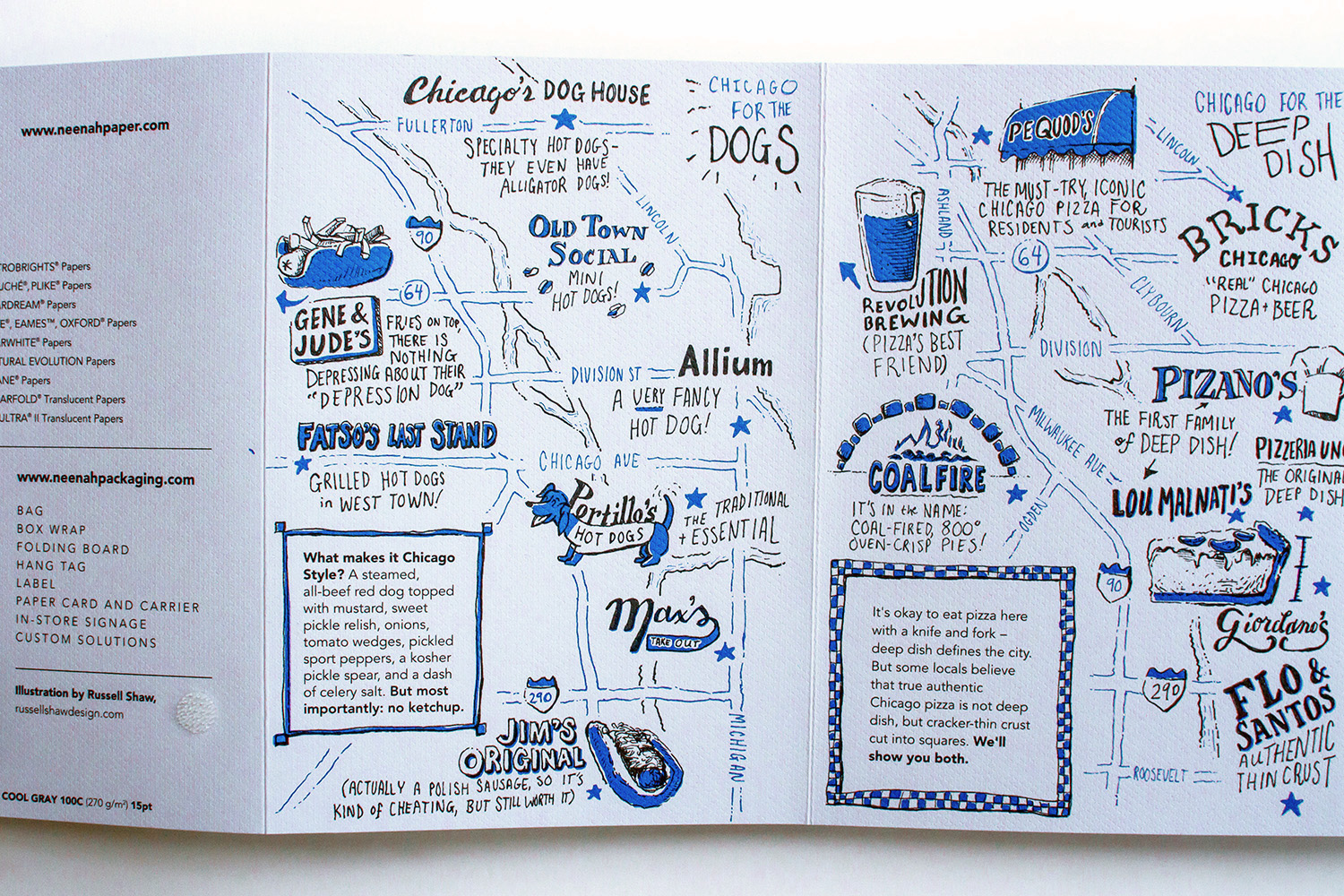 Neenah Presents Chicago illustrated maps, pizza and hot dogs