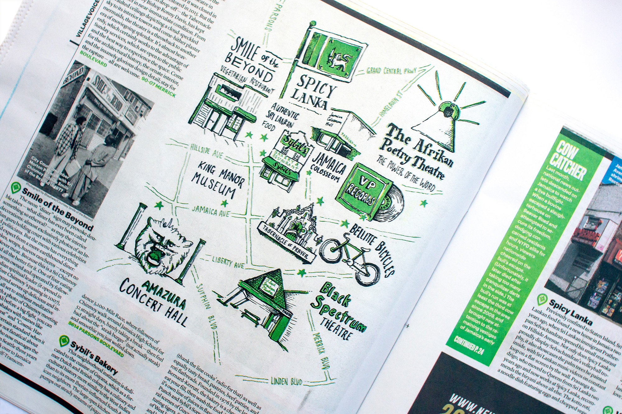 Hand lettering and pen and ink drawn illustrated map of Jamaica neighborhood in New York City, editorial art for the Village Voice. Shows Smile of the Beyond, Spicy Lanka, The Afrikan Poetry Theatre, Black Spectrum, Bicycles, Amazura Concert Hall.