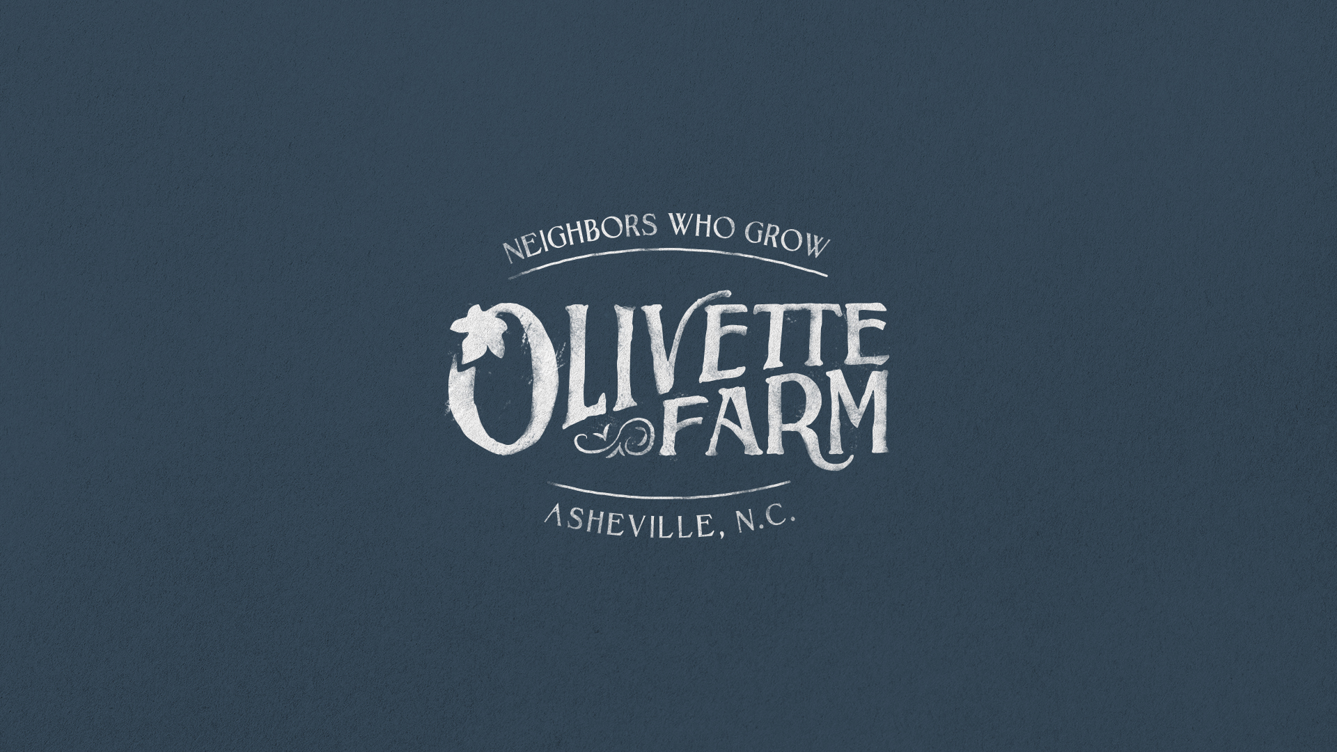 "Olivette Farm, ""Neighbors who Grow"" Asheville N.C. textured logo stamp lockup, showing the branding design by Russell Shaw, custom lettering for the visual identity on a navy background."