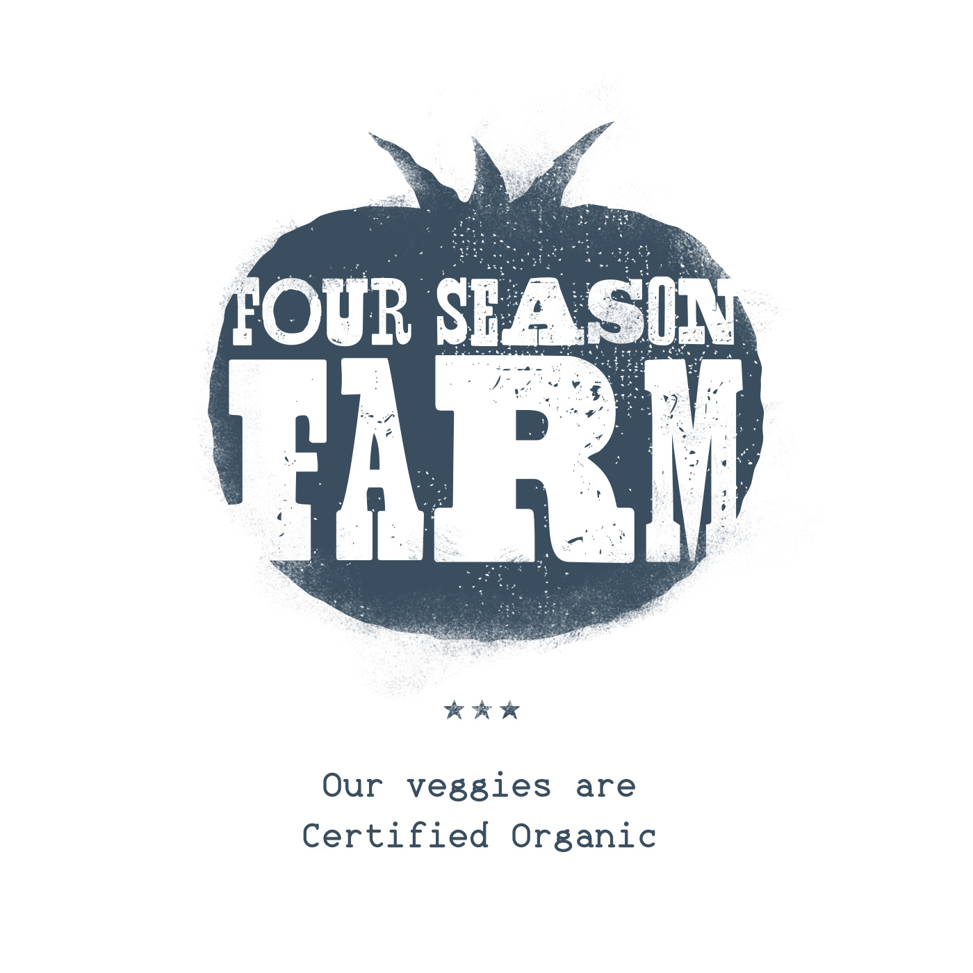 "Wood type block letters and illustration, heavy texturing, of navy tomato, reads ""Four Season Farm: Our Veggies are Certified Organic,"" for Olivette Farm branding design."
