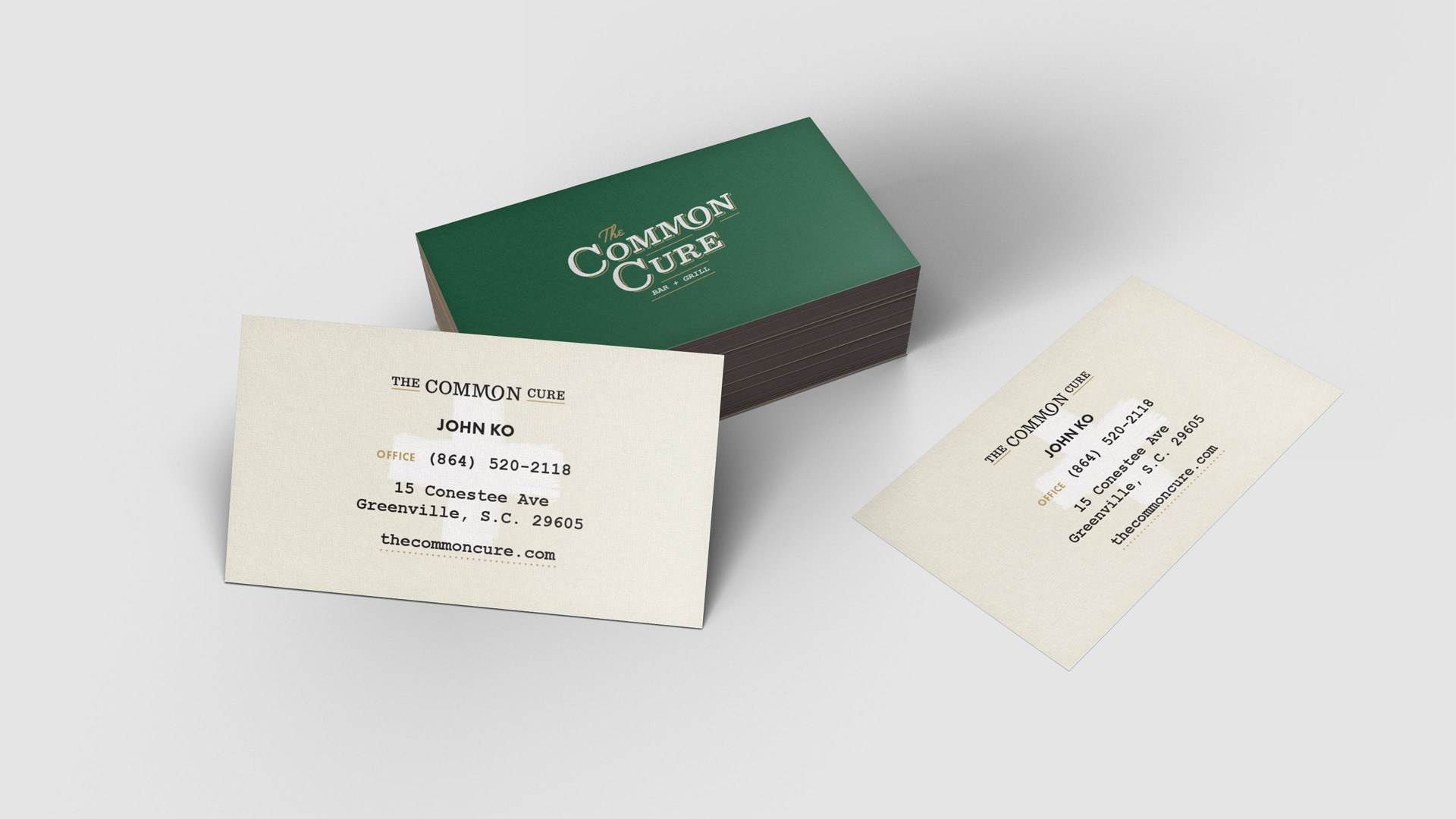 Business Card design for the Common Cure restaurant, part of the brand identity created by graphic artist Russell Shaw.