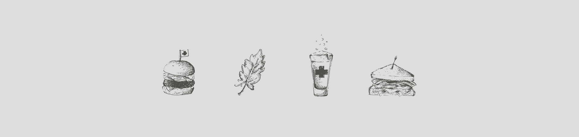 Burger, salad leaf, beer, and sandwich illustrations by hand, drawn for The Common Cure restaurant identity.