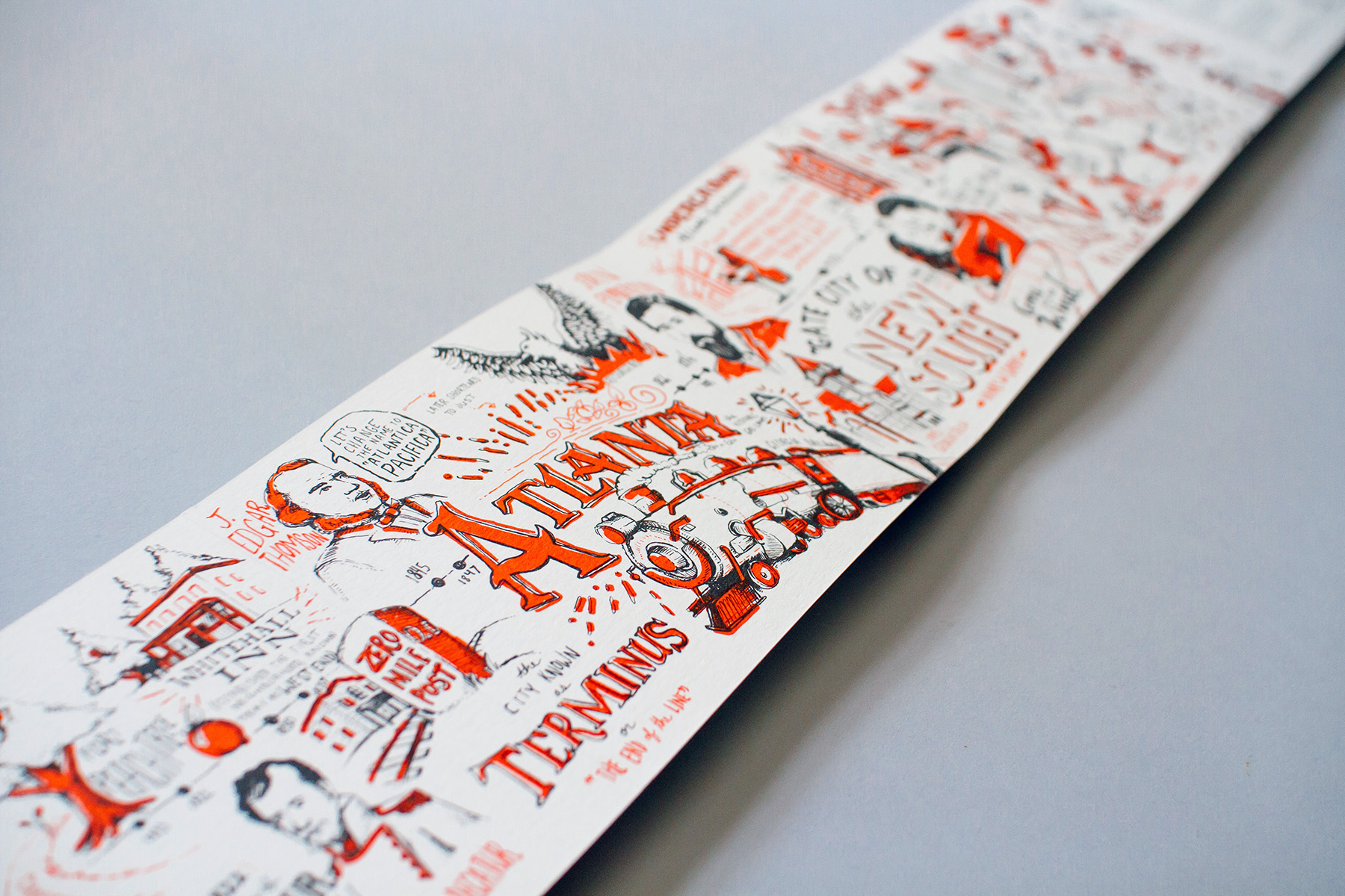Full detail of the printed Atlanta timeline for Neenah Presents Atlanta How Design Live promotional piece.
