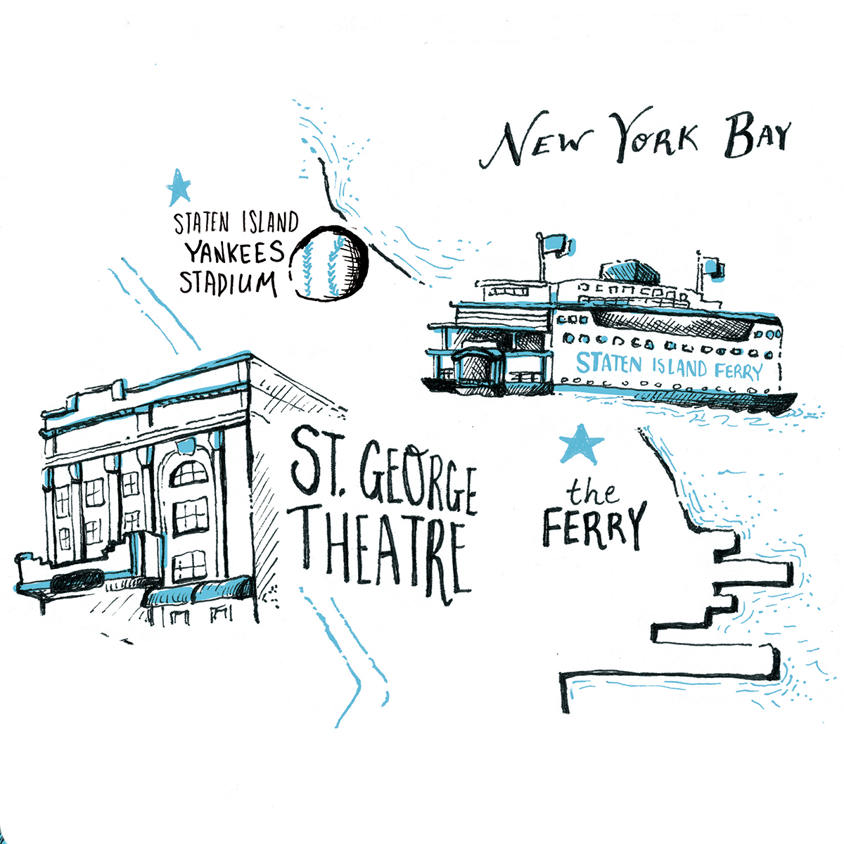 editorial illustration for St. George new york city map