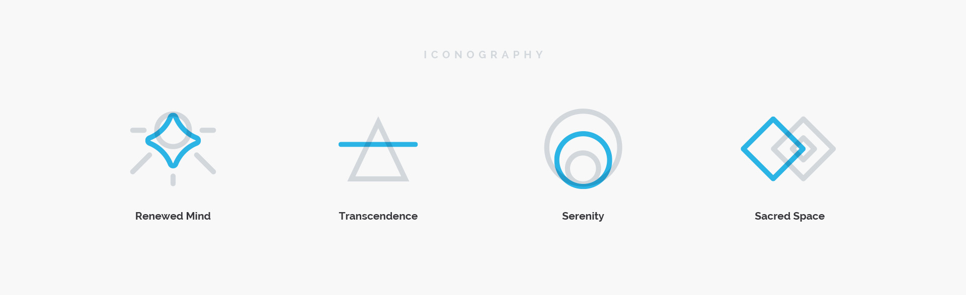 Graphic icons and illustrations designed for Lux representing Renewed Mind, Transcendence, Serenity, and Sacred Space.