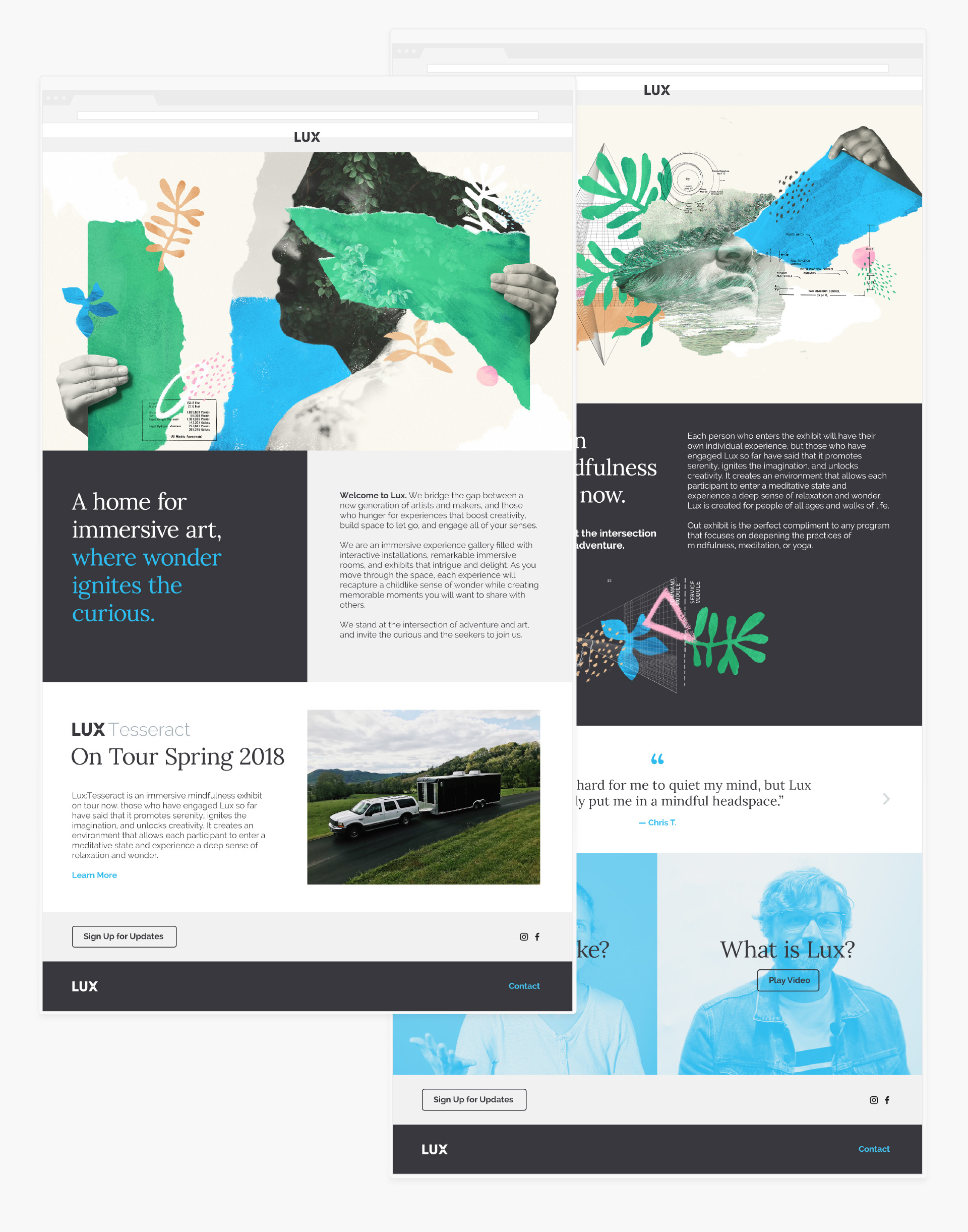 Lux web design features the key art collages and illustrations as well the brand architecture and core messaging framework and narrative copywriting.