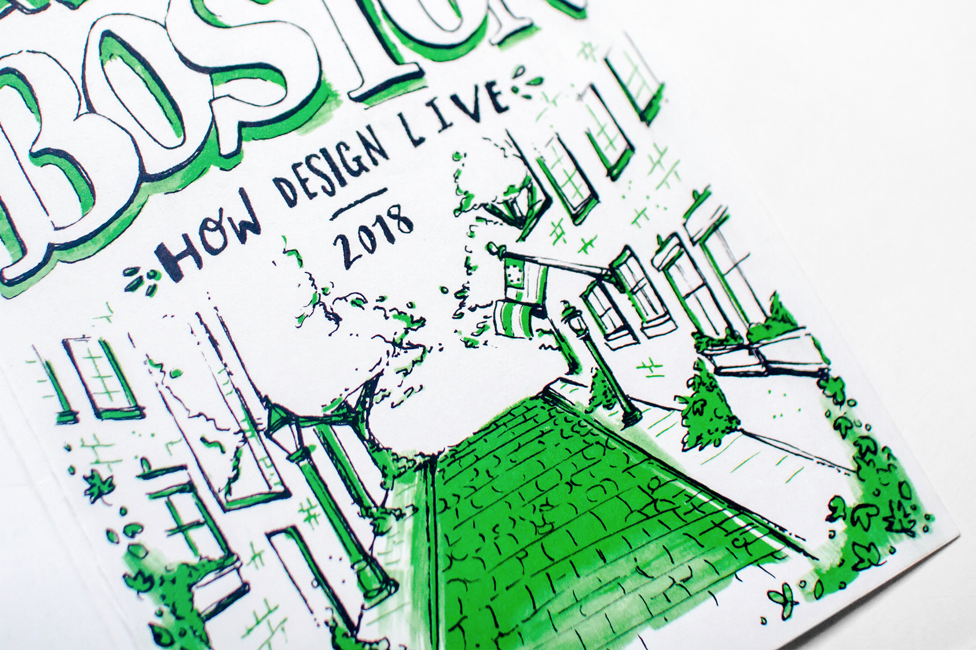 Detail of the front cover illustration of Acorn Street in pen and ink hand drawn lines with spot color pop of green for the Neenah Paper presents Boston city maps at HOW Design Live conference in 2018.
