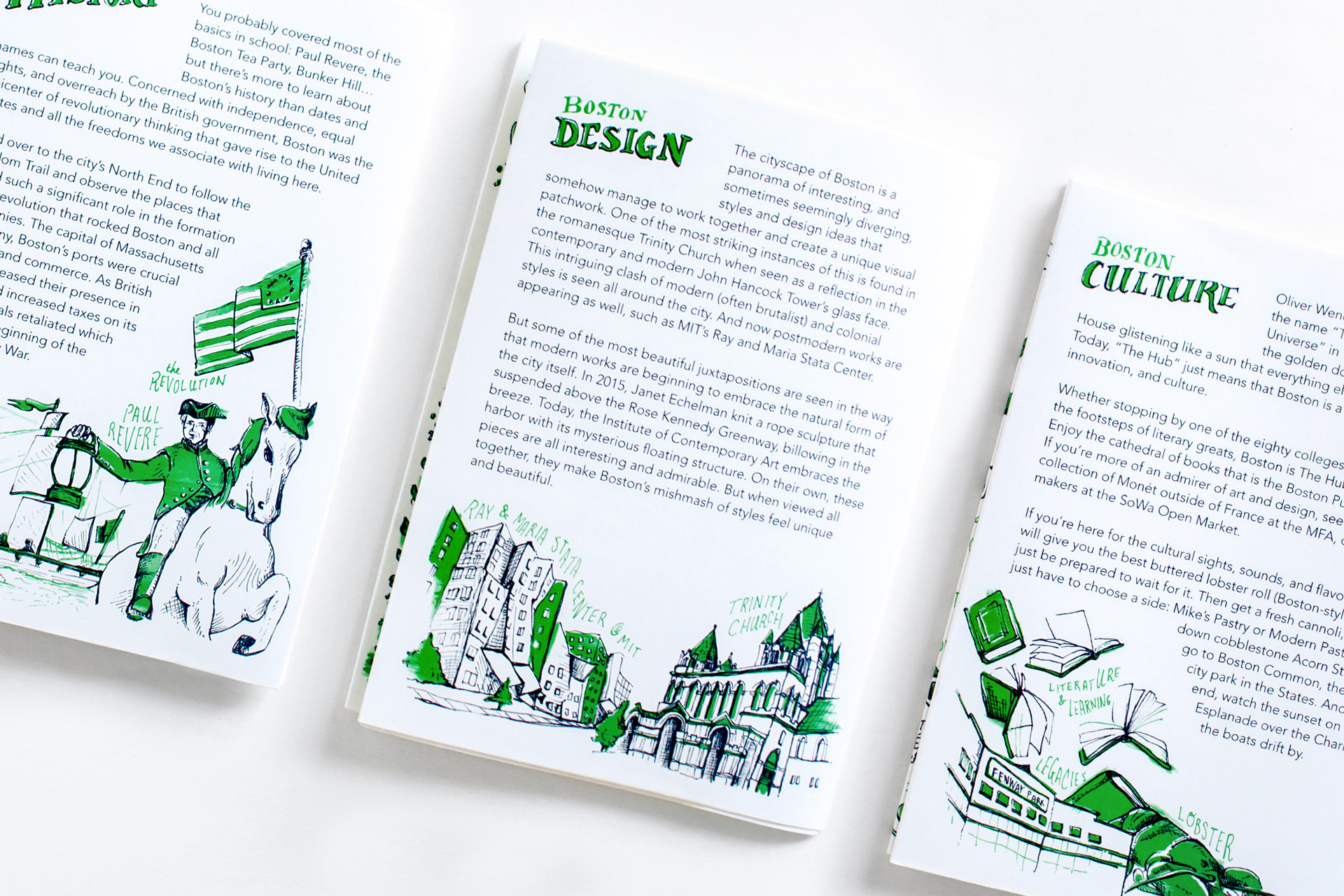 Hand drawn details of the Boston History, Boston Design and Boston Culture fun facts about the city for the Neenah Paper Presents Boston maps and guides at the HOW Design Live Conference in 2018.