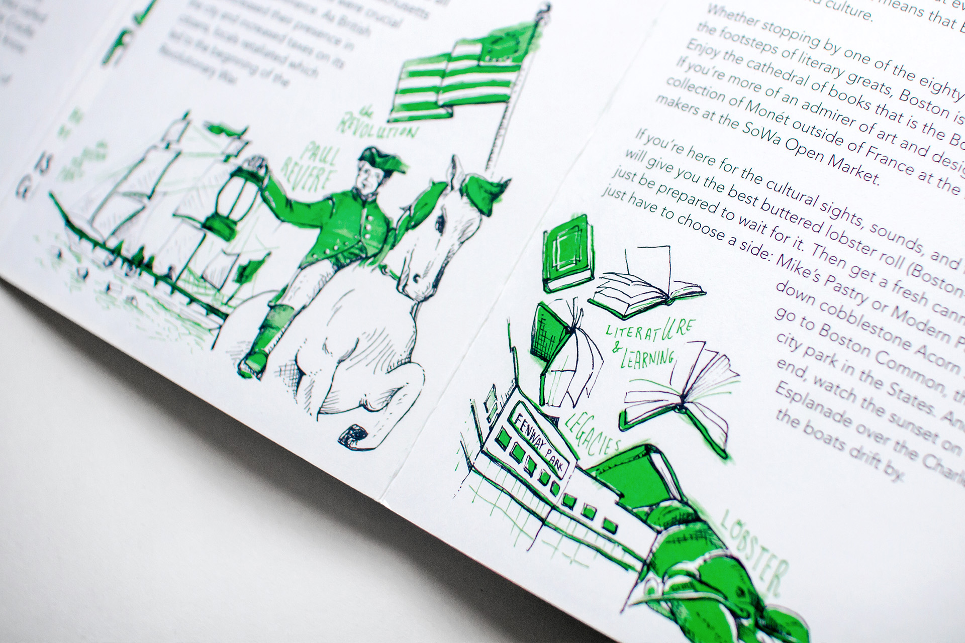 Detail of illustrations of Paul Revere on his horse, the Revolutionary War flag and the Boston Tea Party ship dumping tea crates into Boston Harbor, next to books and Fenway Park and a Lobster, for the Neenah Paper Presents Boston city guide.