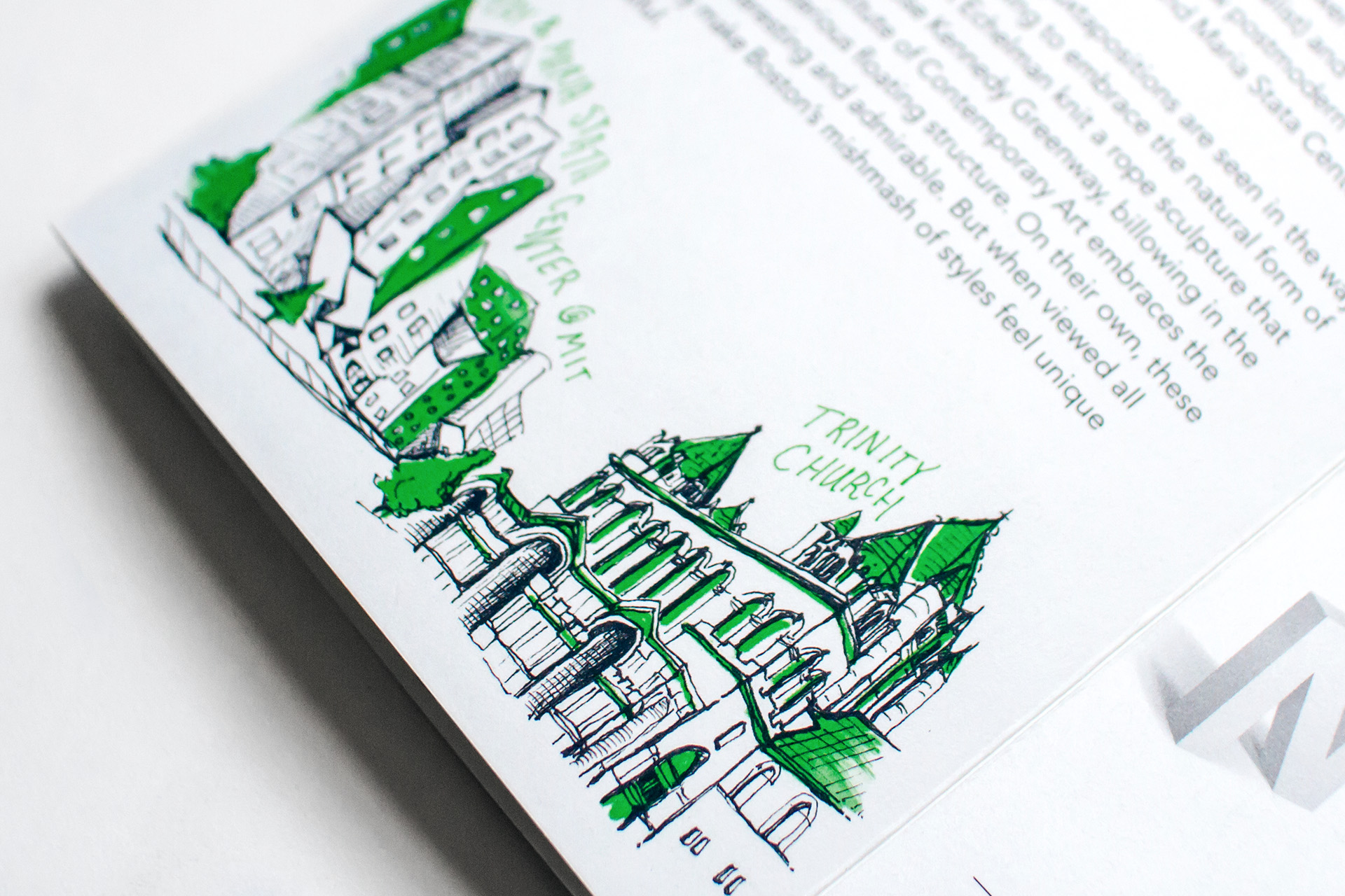 Detail of illustration of the Ray and Maria Stata Center at MIT next to the architecture of the Trinity Church in Boston.