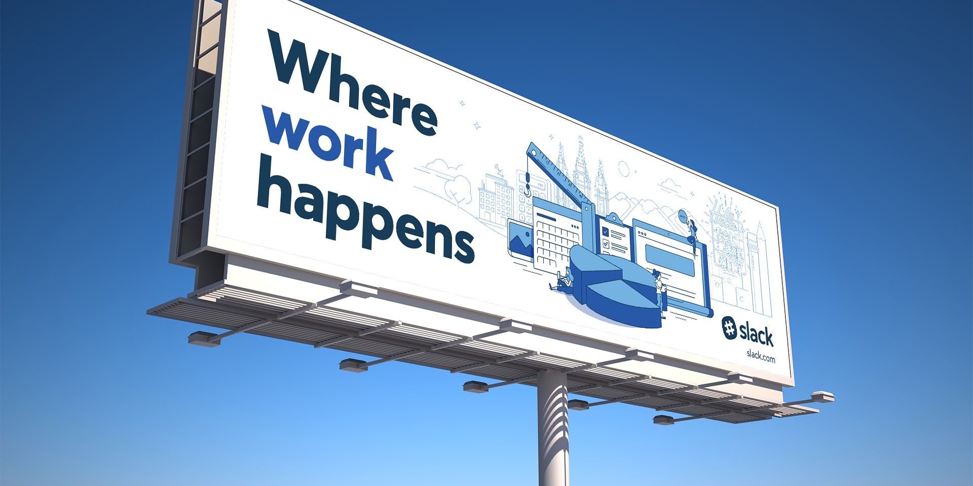 Slack Where Work happens Salt Lake City billboard with custom illustrations specific to the city.