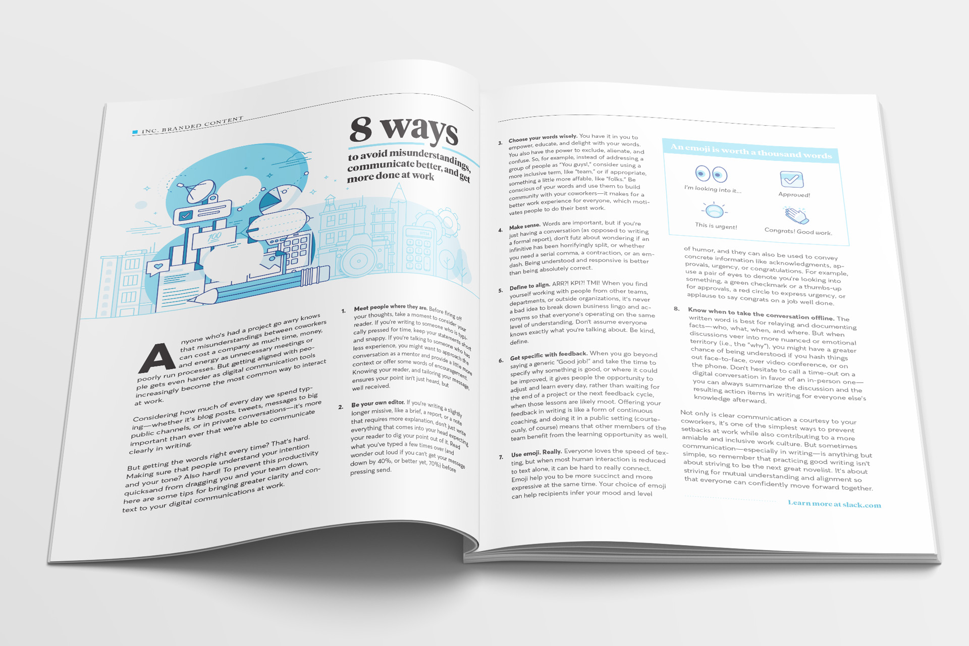 INC Magazine editorial illustration and layout design of 8 ways to avoid misunderstandings, communcate better, and get more done at work as an advertorial for slack in the magazine.