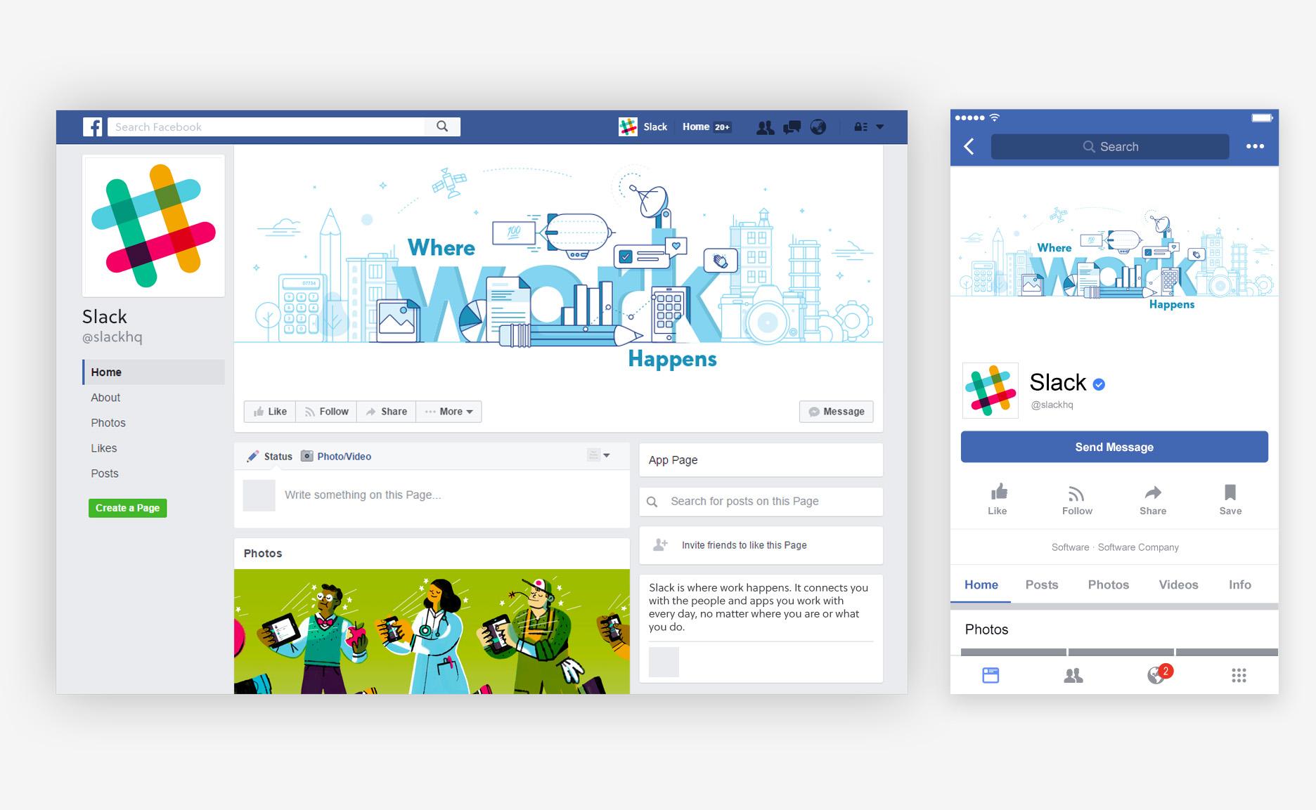 slack where work happens facebook mockup