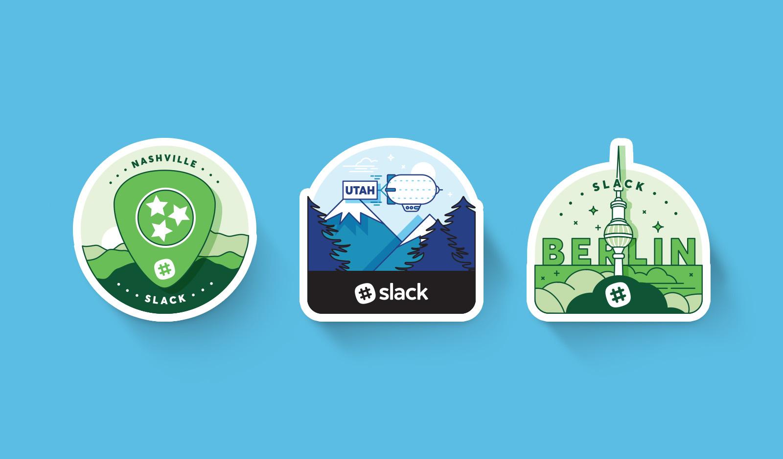 Slack Nashville Salt Lake City and Berlin sticker badges