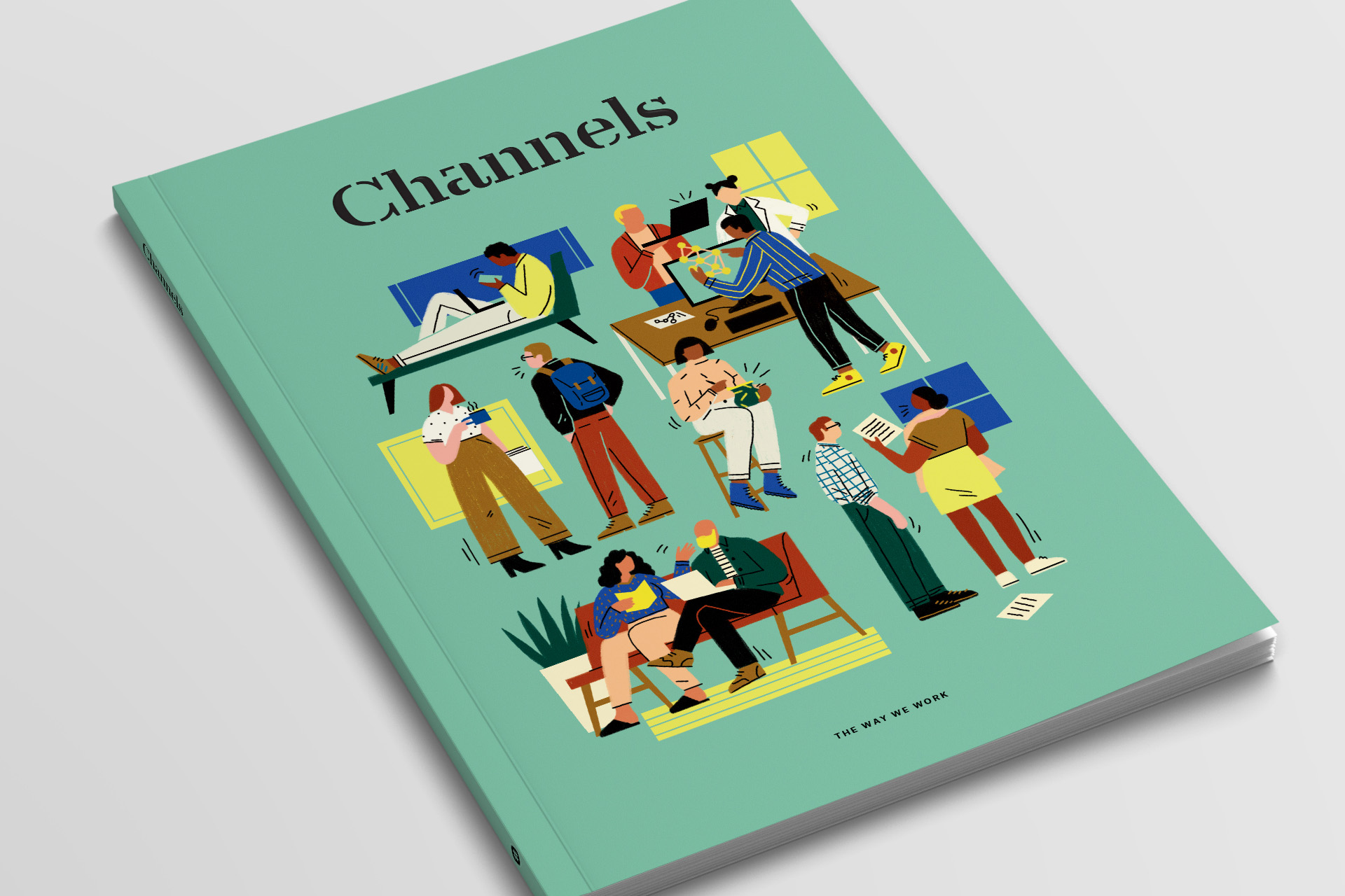 """Close up detail of the cover for Channels magazine by Slack, with """"The Way We Work"""" cover illustration by Abbey Lossing"""