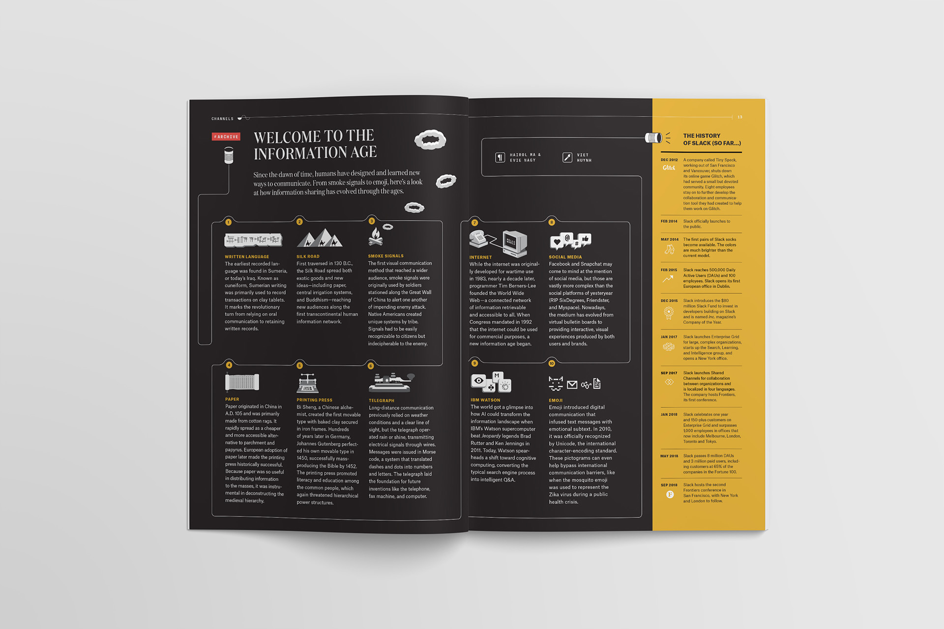 """""""Welcome to the information age"""" timeline and history illustration of knowledge sharing as well as a sidebar of the history of slack so far, in Channels magazine."""