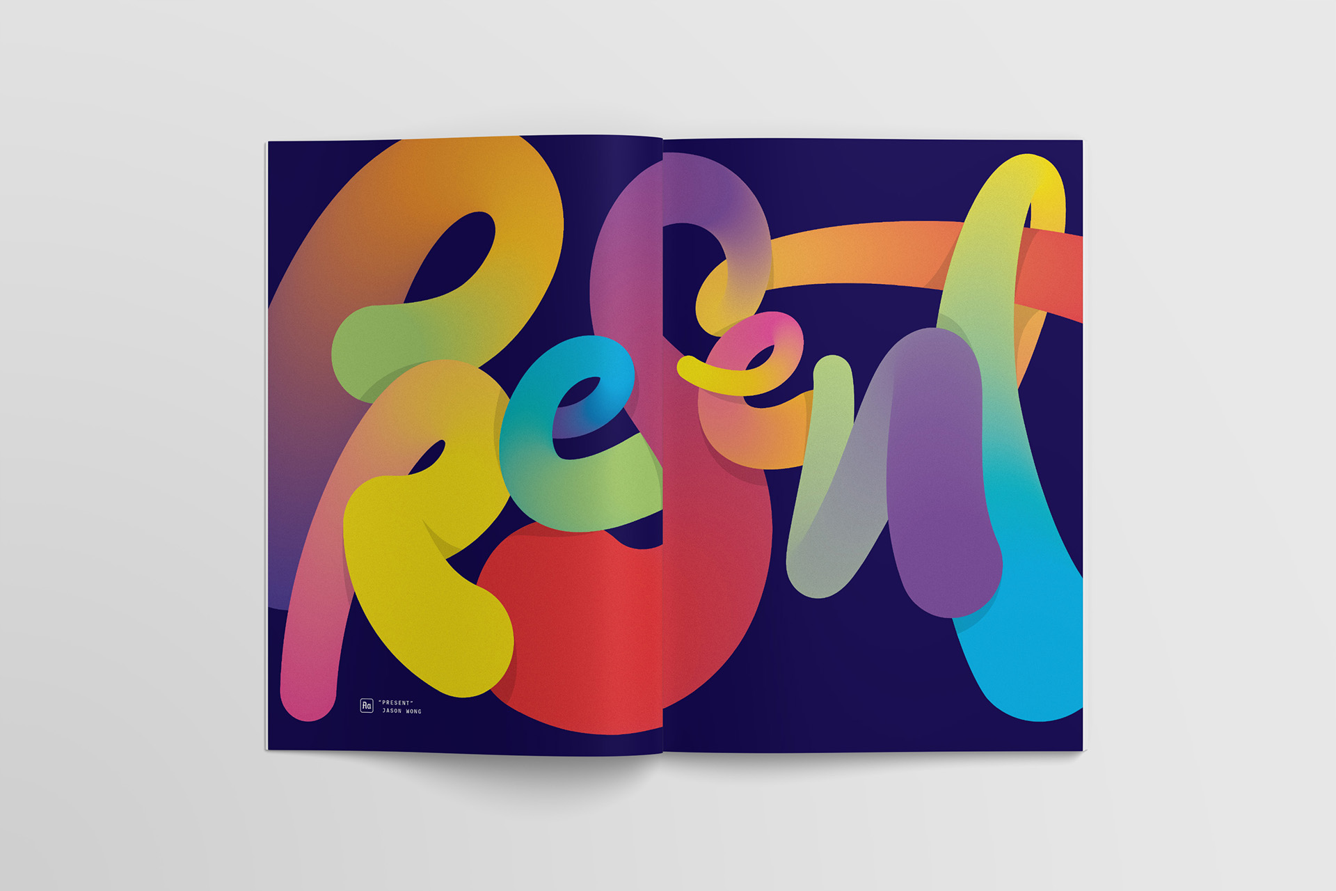 """""""Present"""" by Jason Wong, script lettering and custom typography as a full spread for Slack's Channels magazine"""