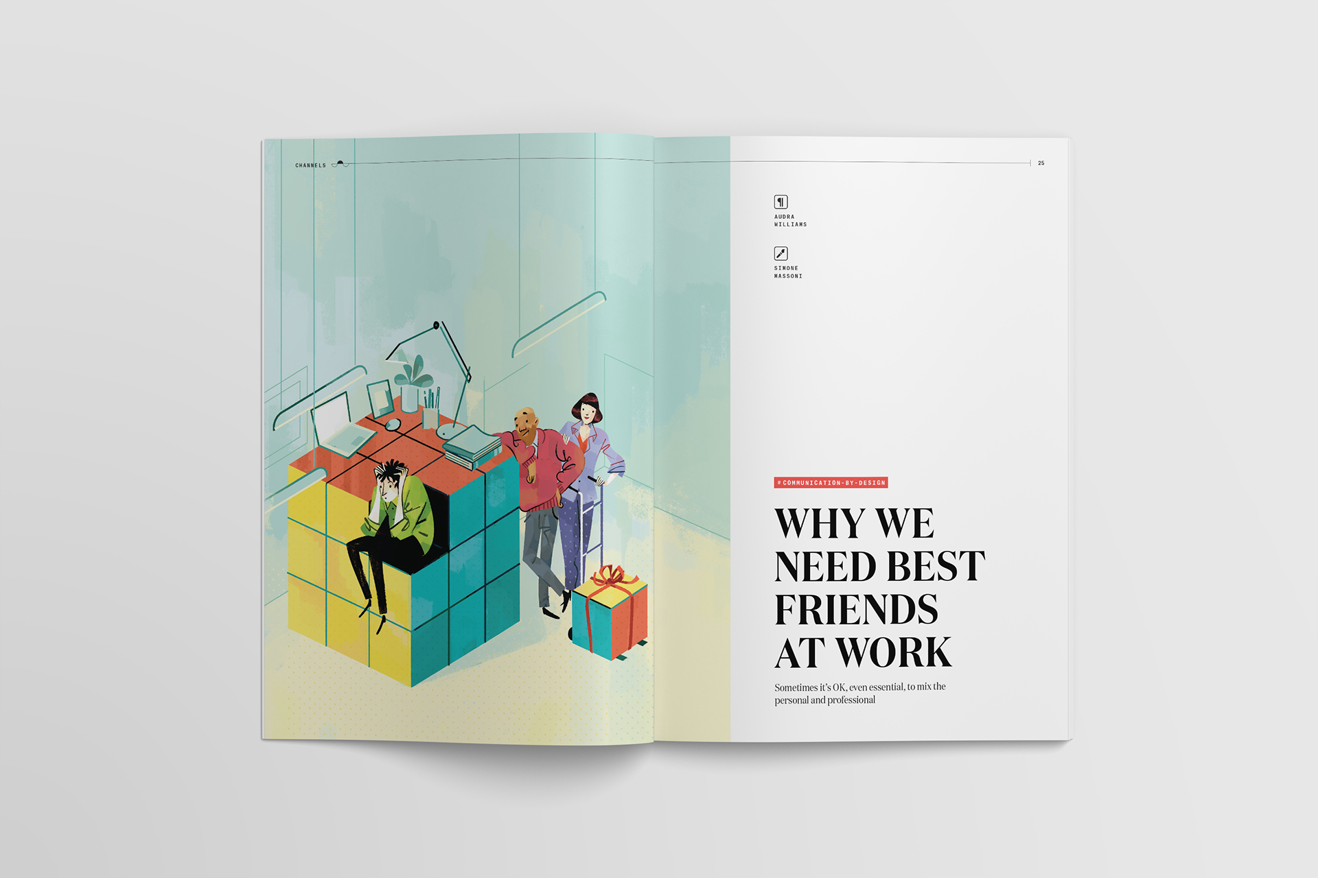 Simone Massoni's Best Friends at Work illustration for Slack's Channels magazine