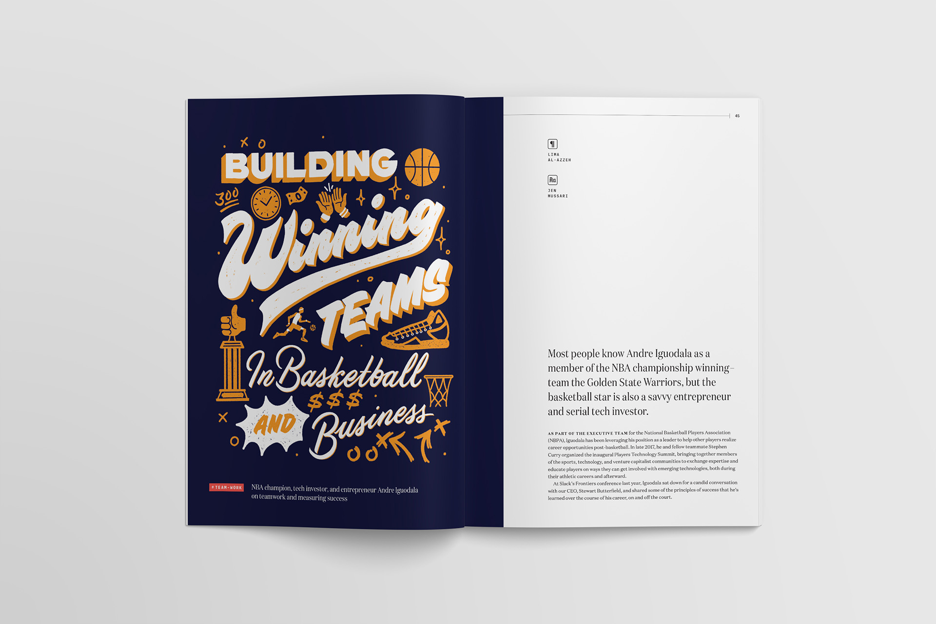 """""""Building Winning Teams"""" in basketball and business lettering and article illustration by Jen Mussari for Slack's Channels magazine"""